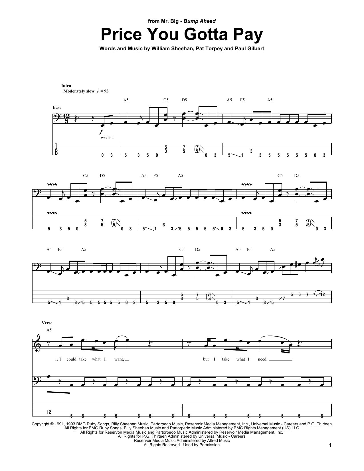 Price You Gotta Pay Sheet Music