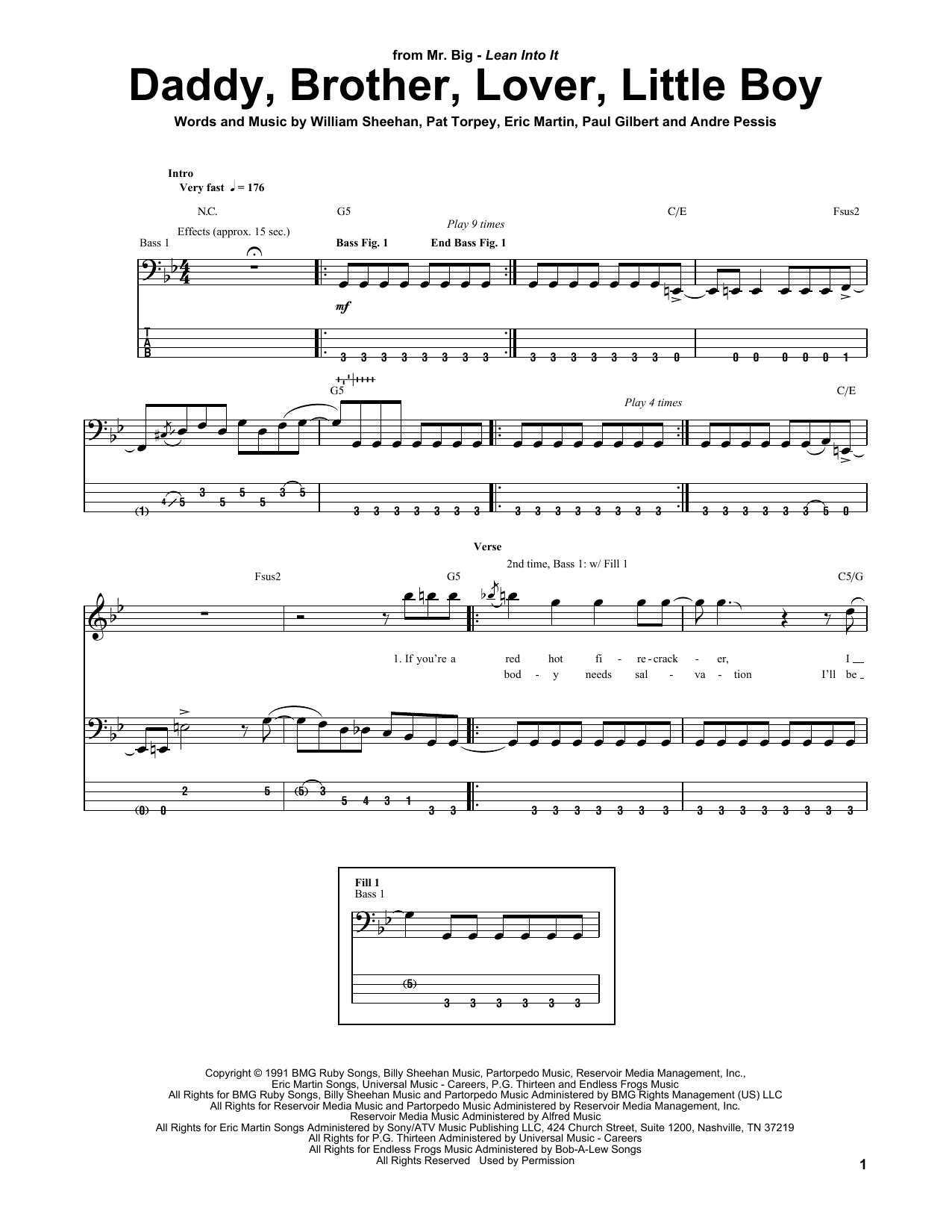 Daddy, Brother, Lover, Little Boy (Bass Guitar Tab)