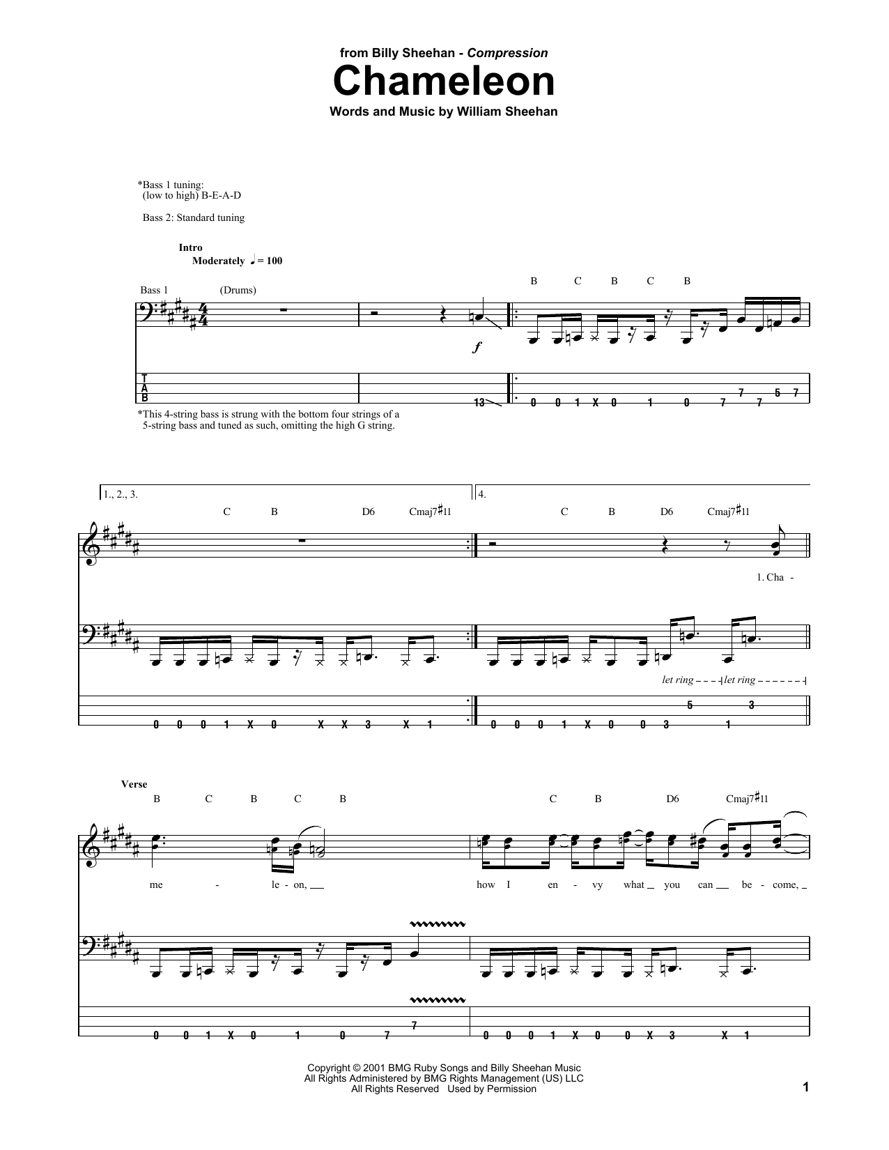 chameleon sheet music billy sheehan bass guitar tab. Black Bedroom Furniture Sets. Home Design Ideas