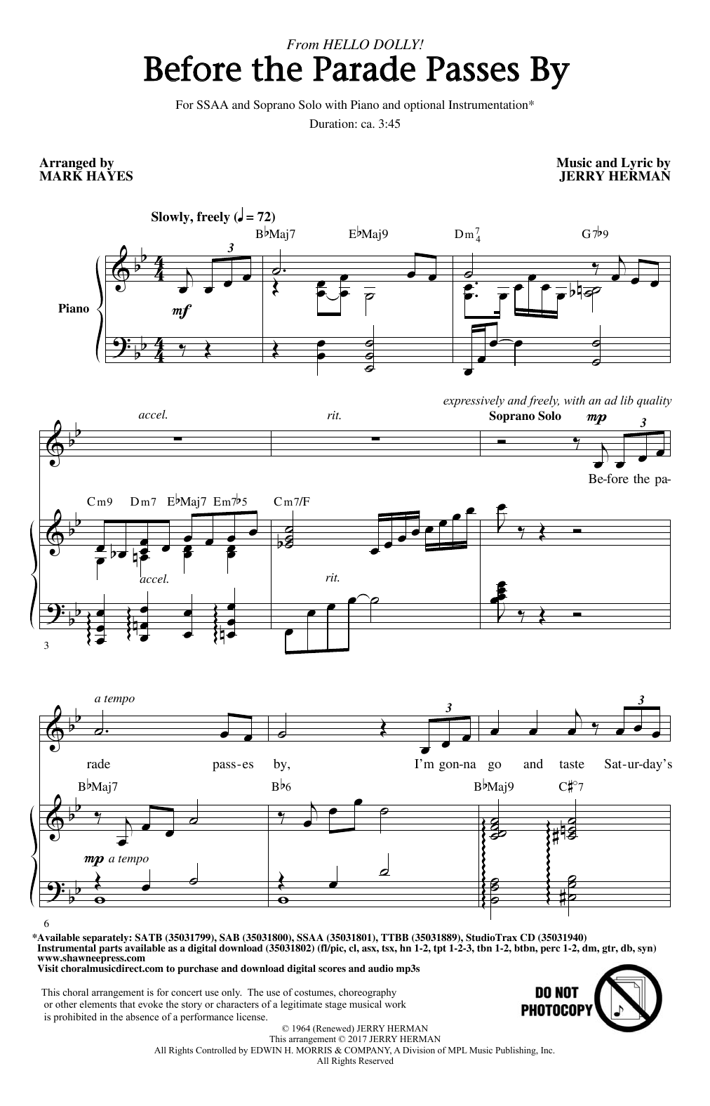 Before The Parade Passes By Sheet Music