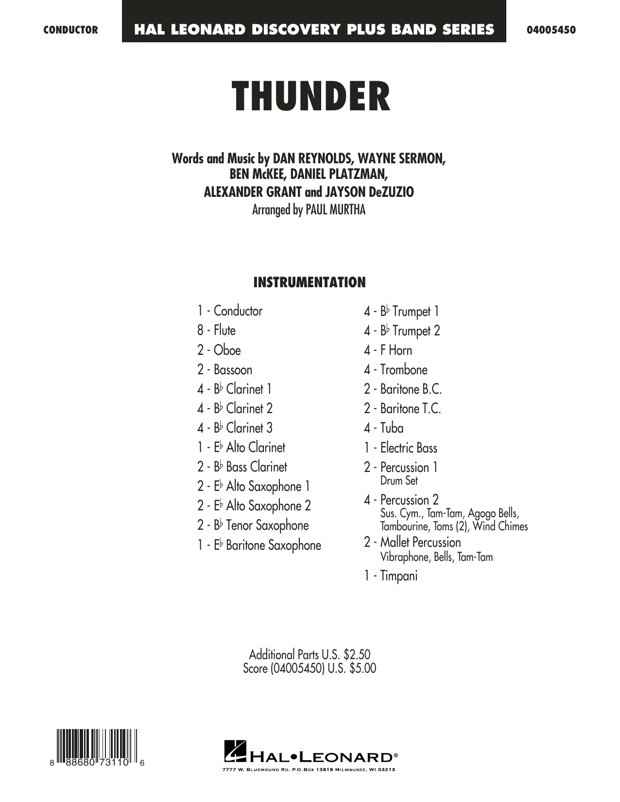 Thunder - Conductor Score (Full Score) (Concert Band)