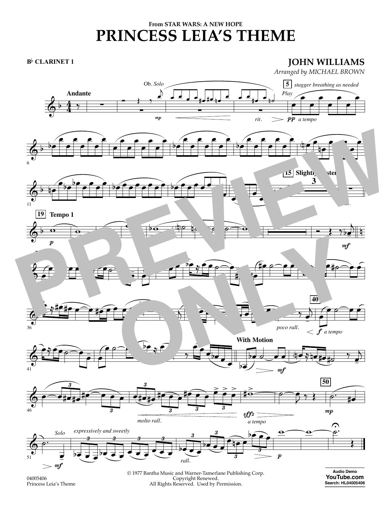 Princess Leia's Theme - Bb Clarinet 1 (Concert Band)