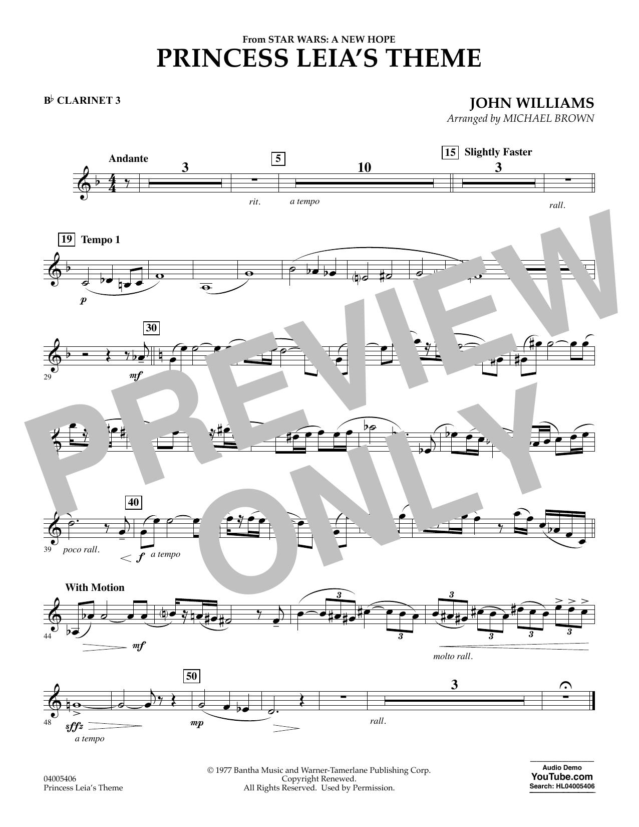 Princess Leia's Theme - Bb Clarinet 3 (Concert Band)