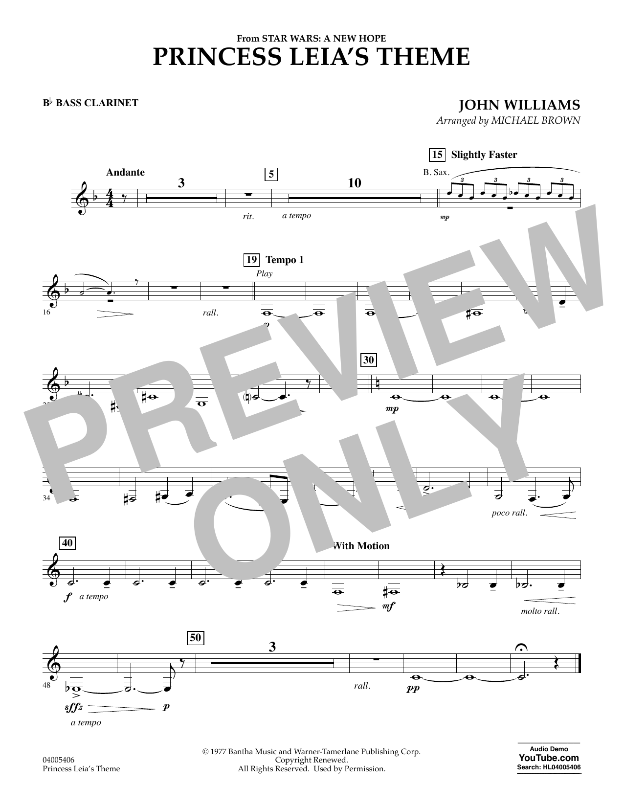 Princess Leia's Theme - Bb Bass Clarinet (Concert Band)