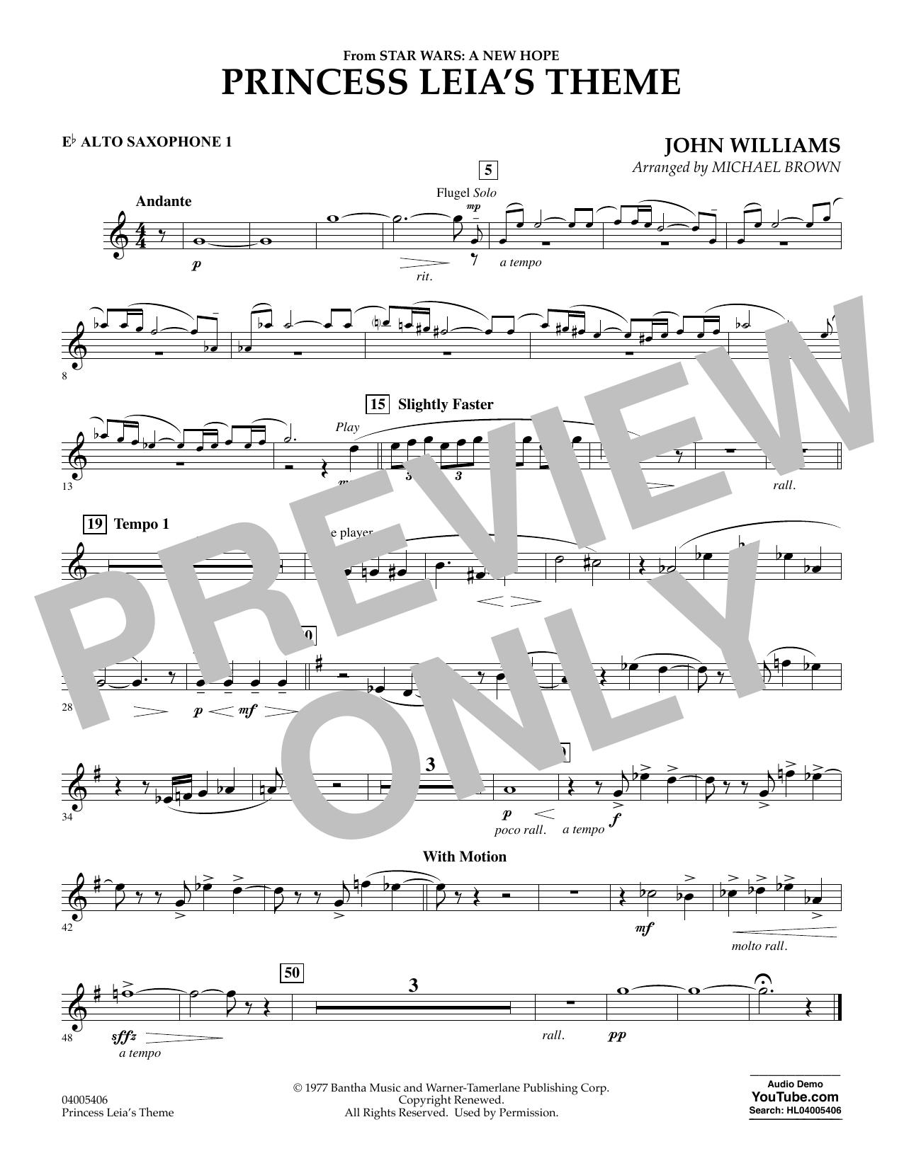 Princess Leia's Theme - Eb Alto Saxophone 1 (Concert Band)