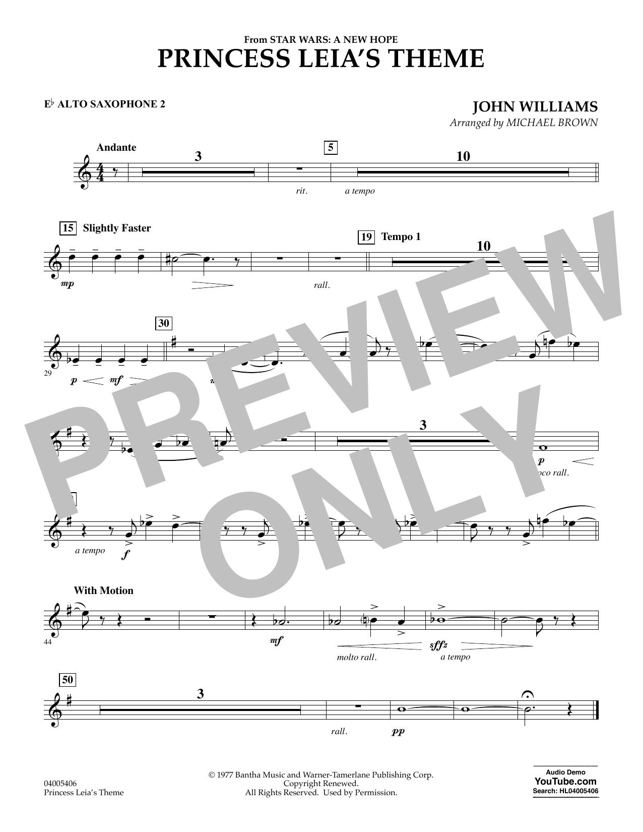 Princess Leia's Theme - Eb Alto Saxophone 2 (Concert Band)