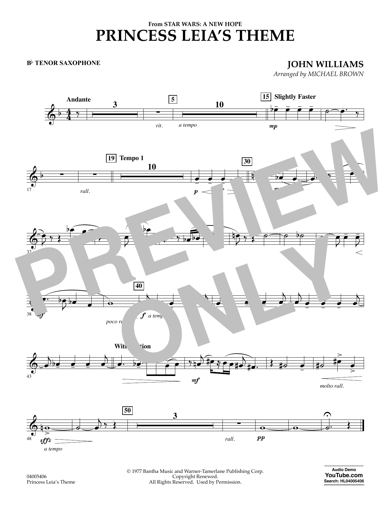 Princess Leia's Theme - Bb Tenor Saxophone (Concert Band)