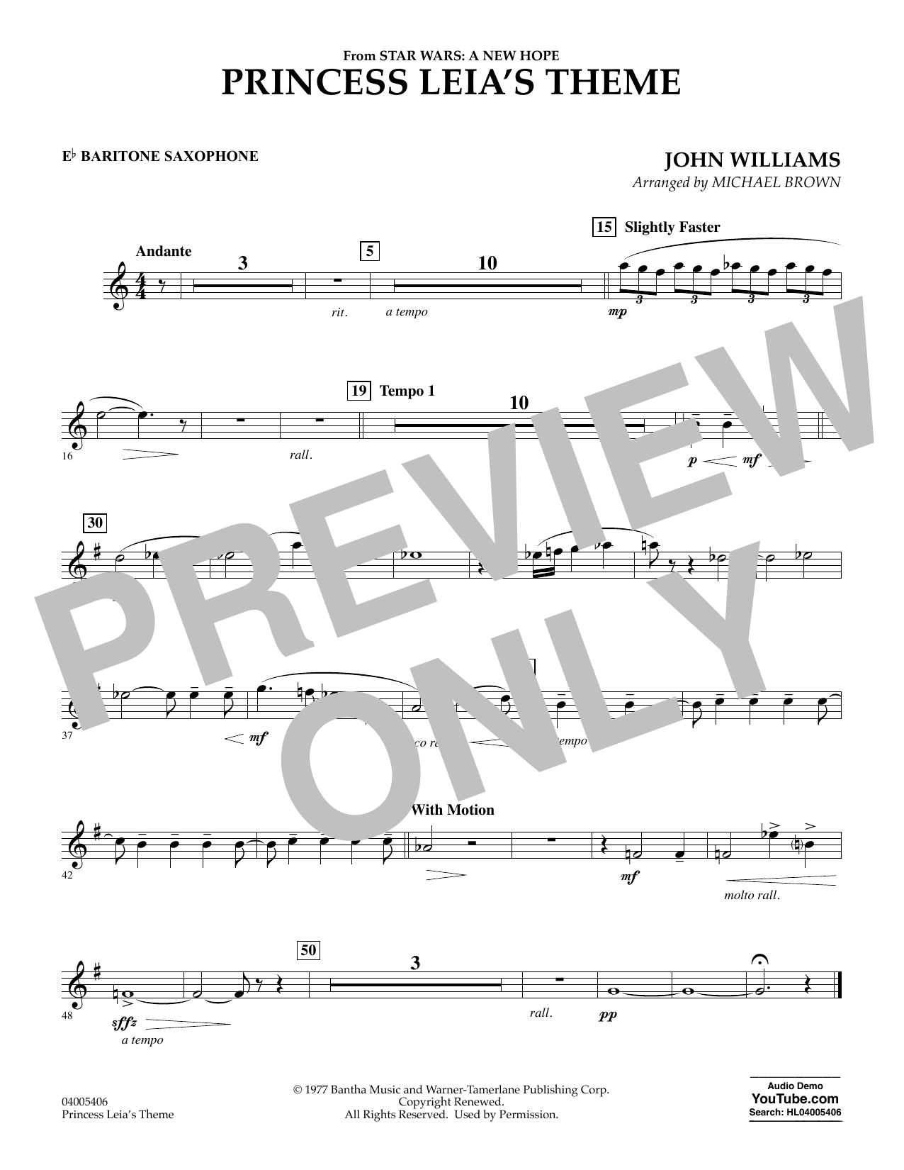Princess Leia's Theme - Eb Baritone Saxophone (Concert Band)