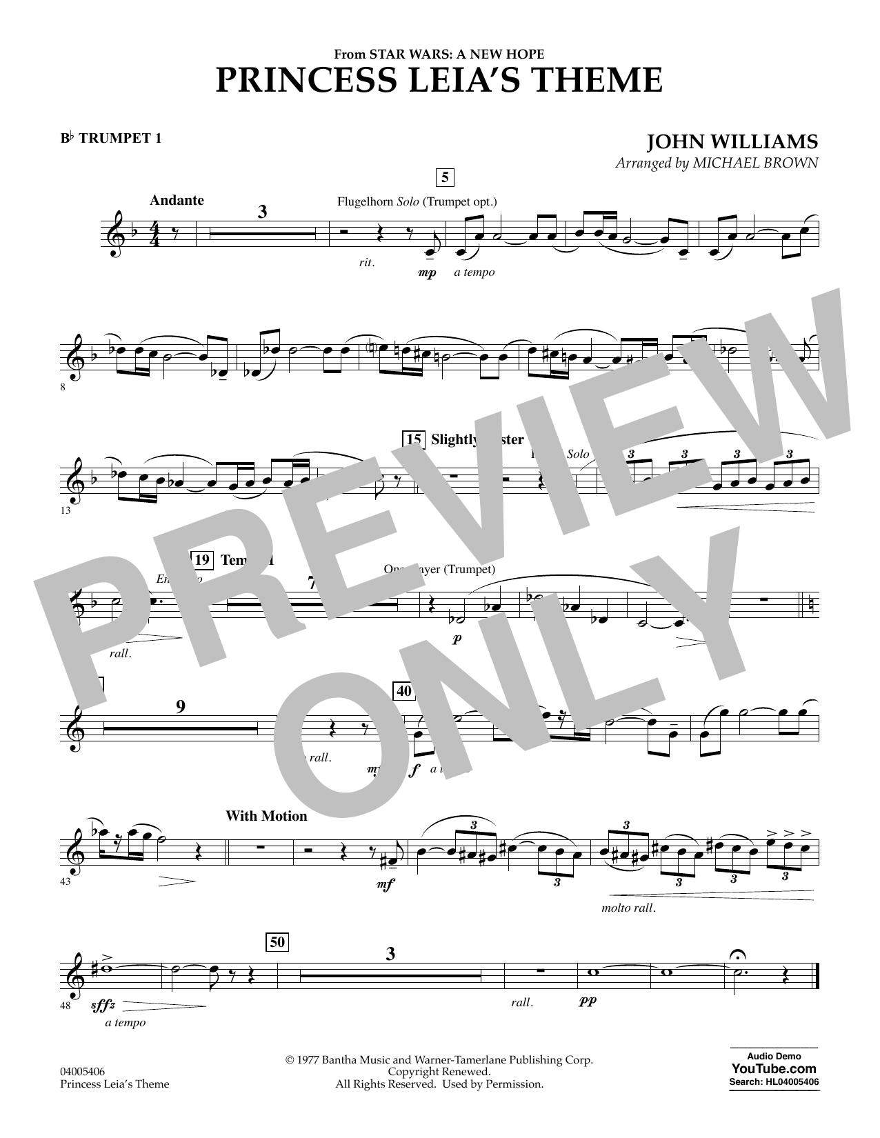 Princess Leia's Theme - Bb Trumpet 1 (Concert Band)