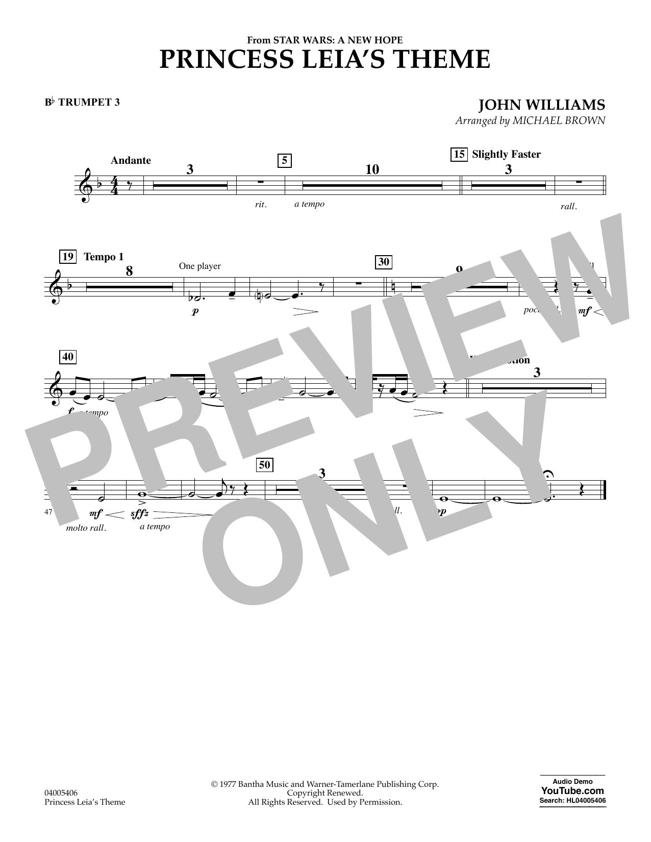 Princess Leia's Theme - Bb Trumpet 3 (Concert Band)