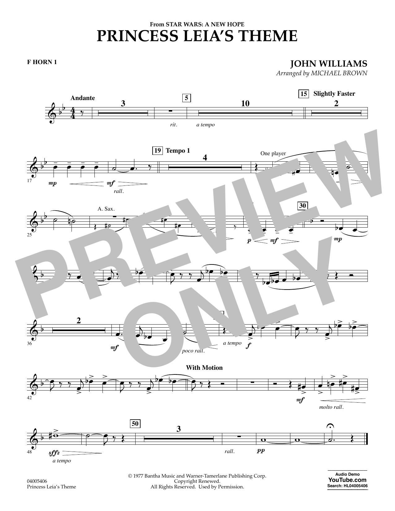 Princess Leia's Theme - F Horn 1 (Concert Band)