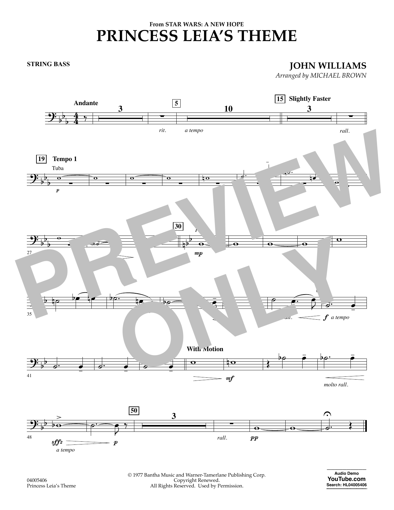 Princess Leia's Theme - String Bass (Concert Band)