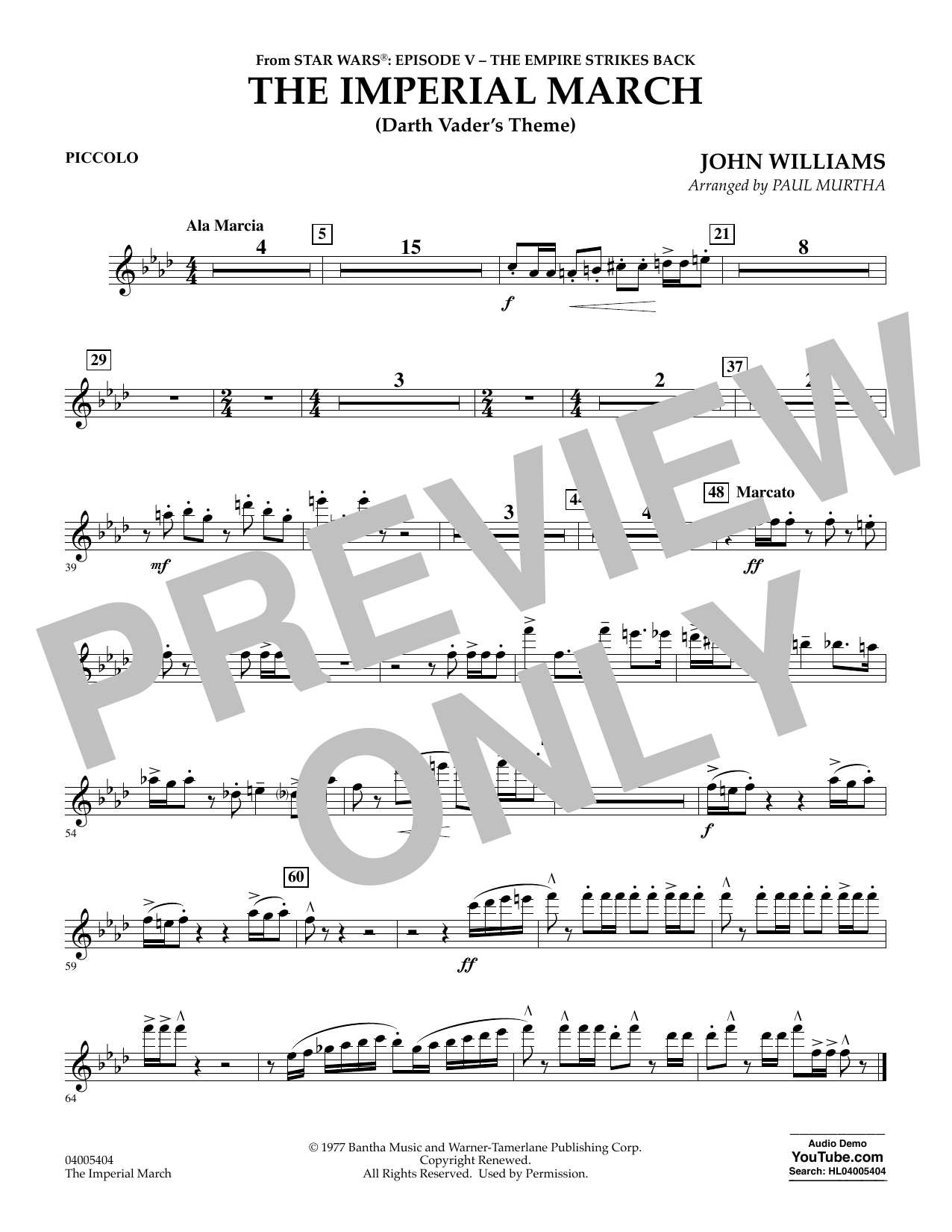 The Imperial March (Darth Vader's Theme) - Piccolo (Concert Band)