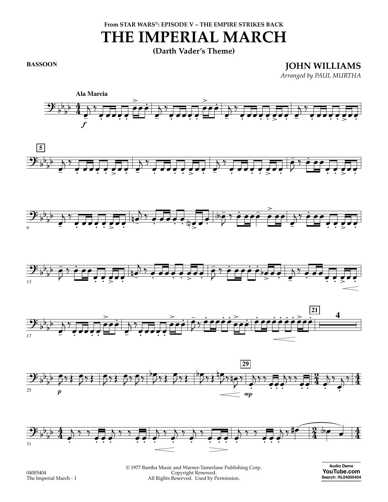 Partition autre The Imperial March (Darth Vader's Theme) - Bassoon de Paul Murtha - Orchestre d'harmonie