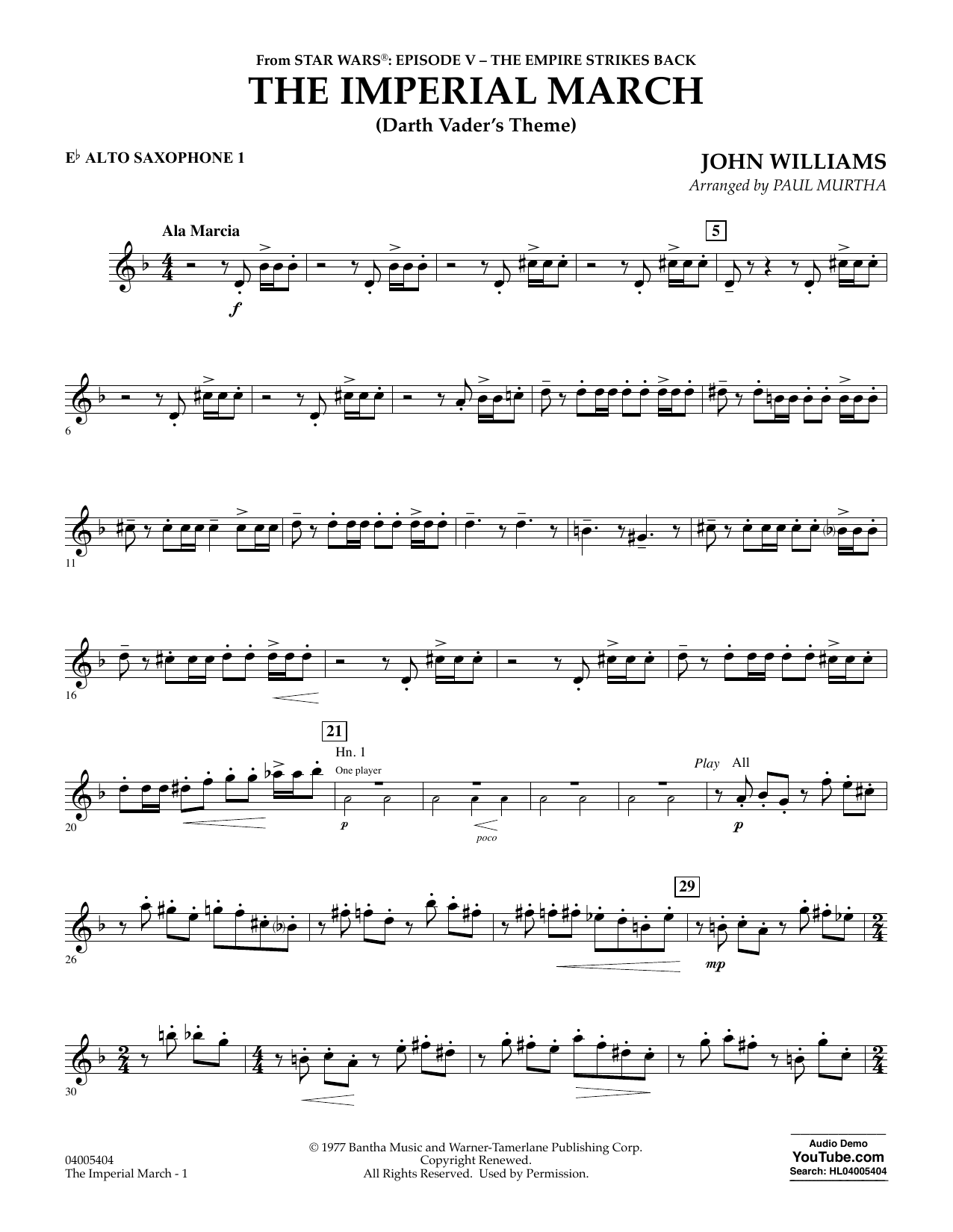 The Imperial March (Darth Vader's Theme) - Eb Alto Saxophone 1 (Concert Band)