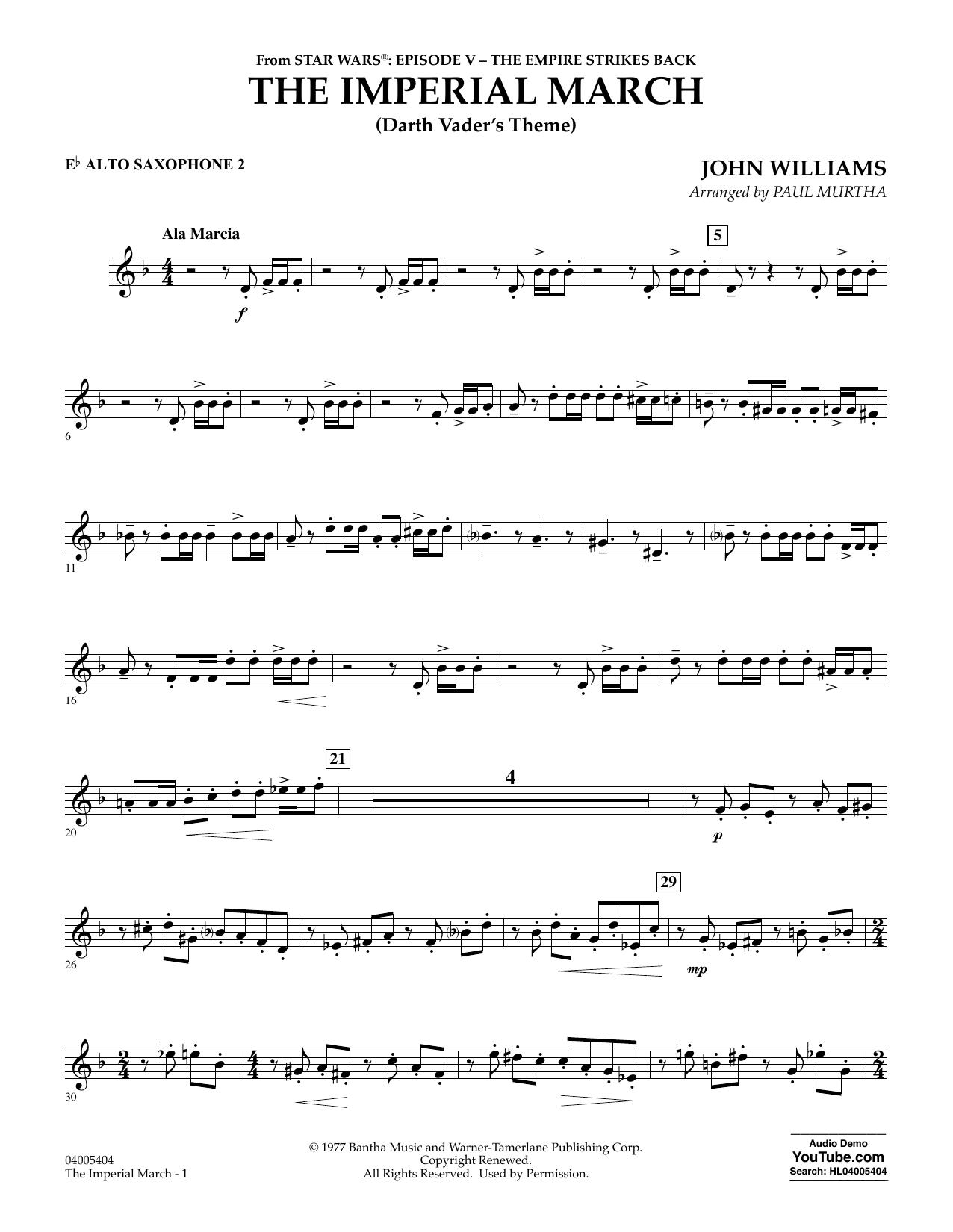 Partition autre The Imperial March (Darth Vader's Theme) - Eb Alto Saxophone 2 de Paul Murtha - Orchestre d'harmonie