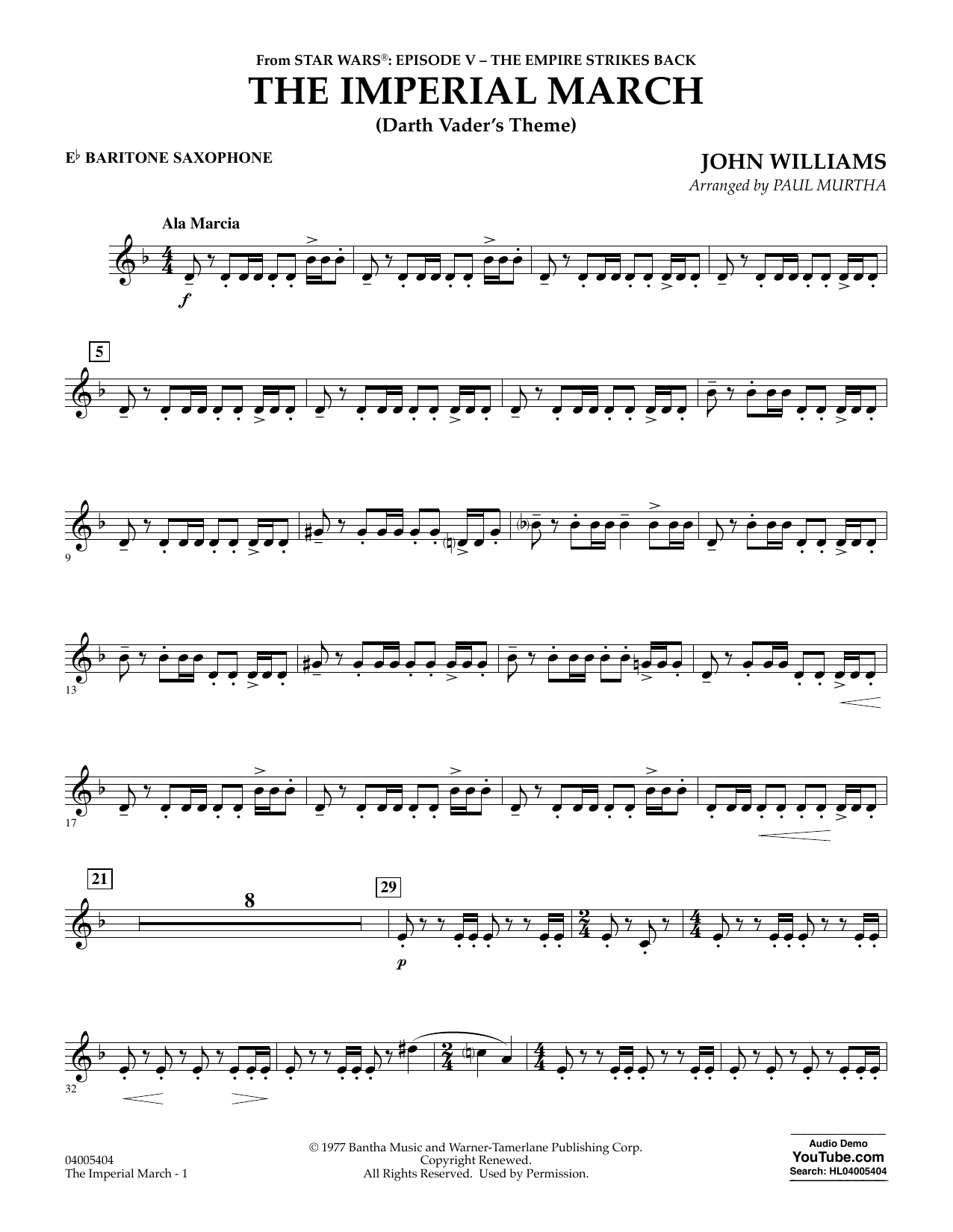 The Imperial March (Darth Vader's Theme) - Eb Baritone Saxophone (Concert Band)