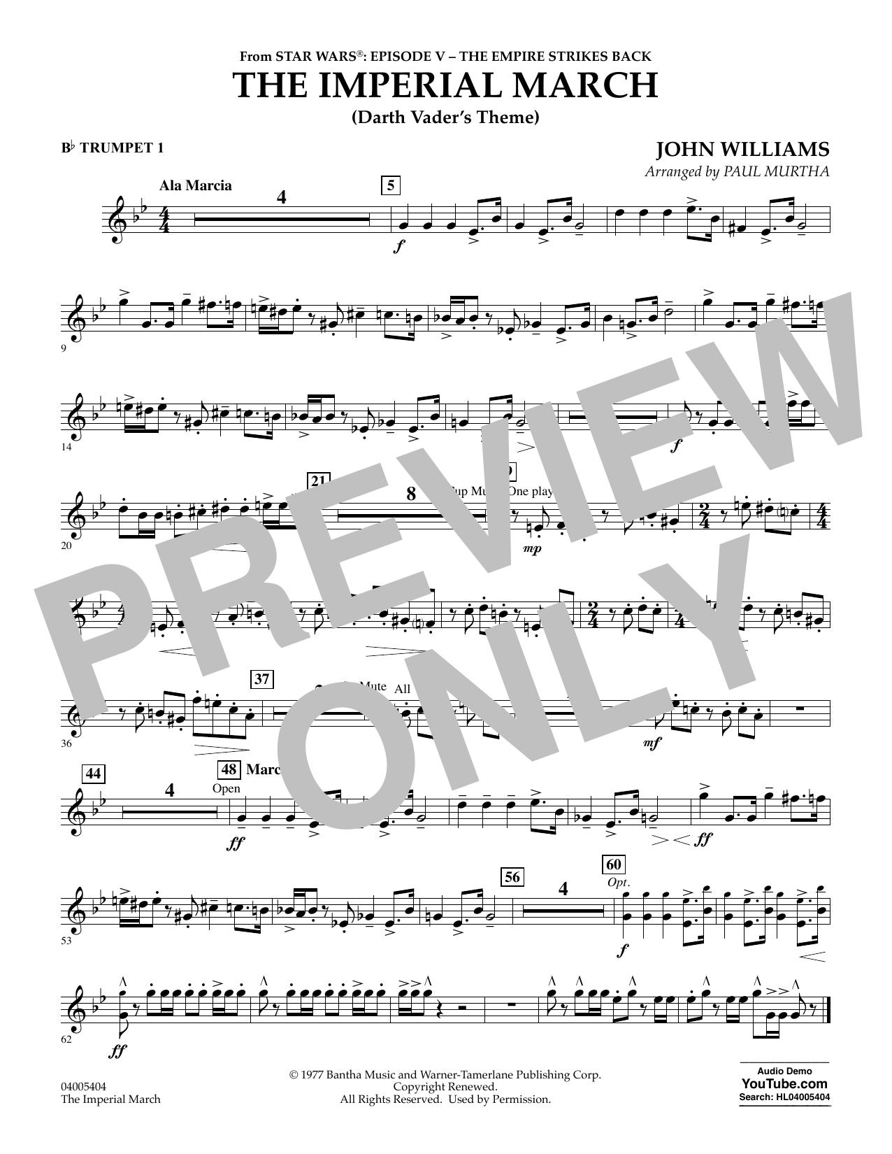 Partition autre The Imperial March (Darth Vader's Theme) - Bb Trumpet 1 de Paul Murtha - Orchestre d'harmonie