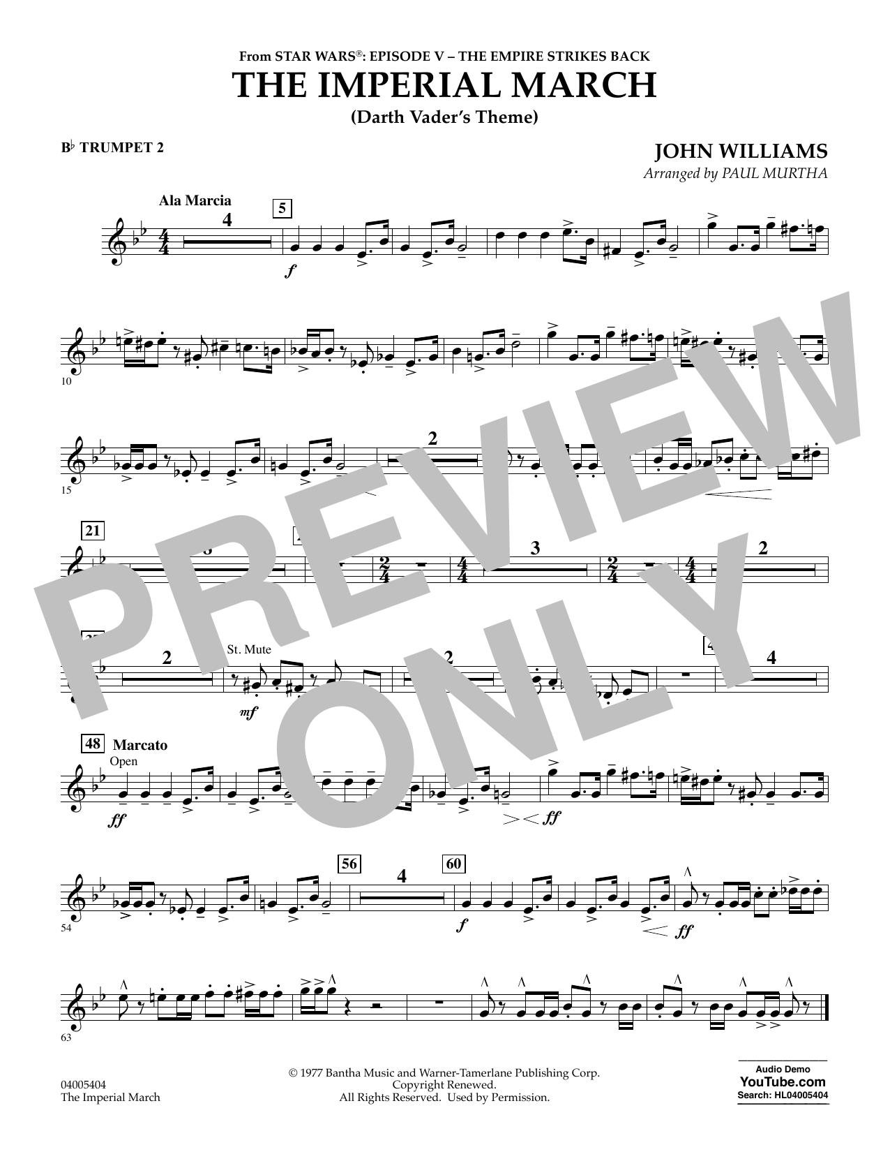 Partition autre The Imperial March (Darth Vader's Theme) - Bb Trumpet 2 de Paul Murtha - Orchestre d'harmonie