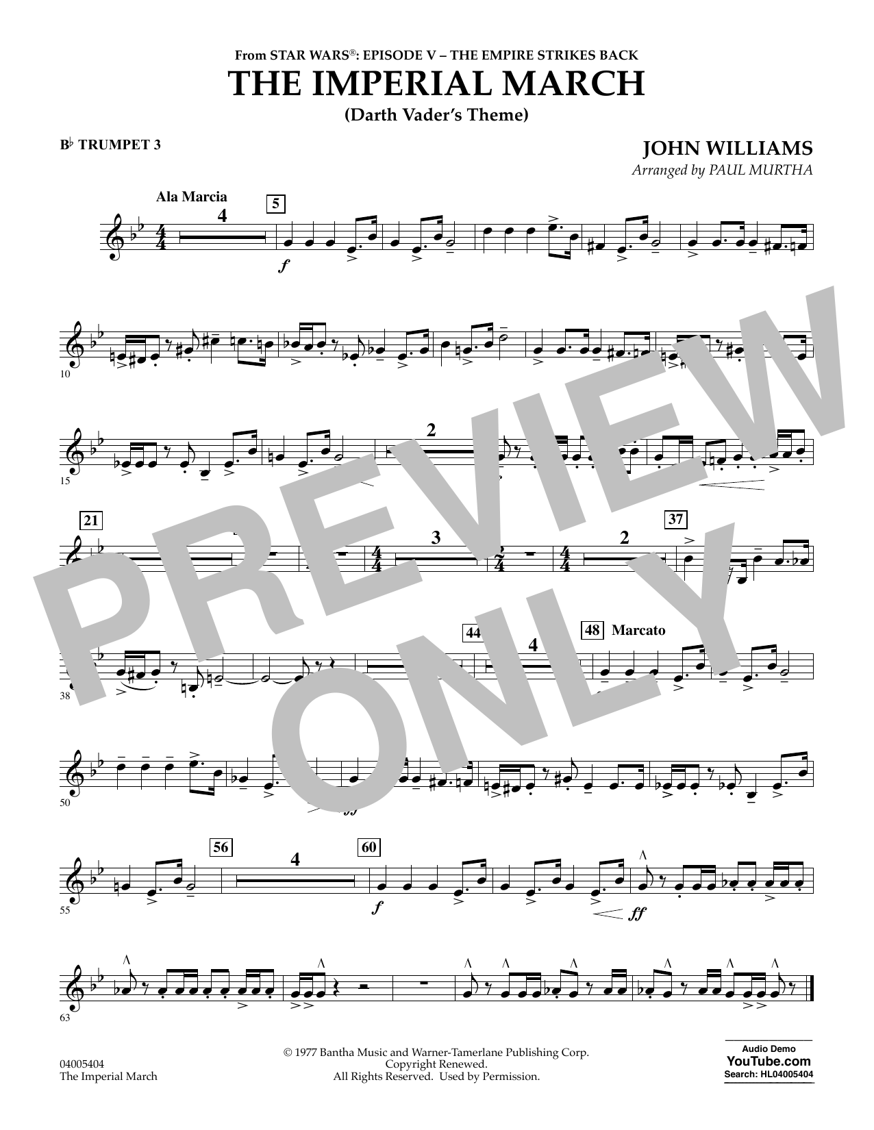 The Imperial March (Darth Vader's Theme) - Bb Trumpet 3 (Concert Band)