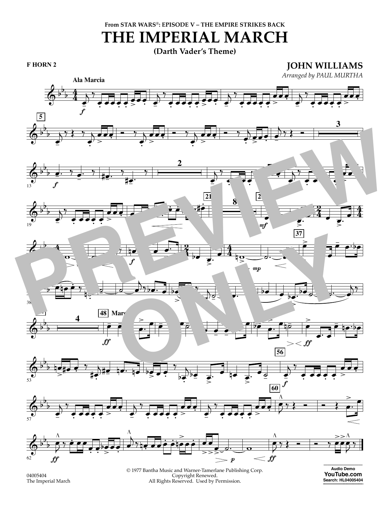 The Imperial March (Darth Vader's Theme) - F Horn 2 (Concert Band)