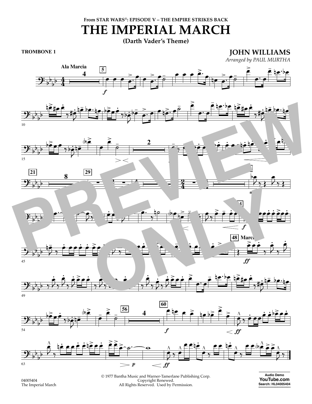 The Imperial March (Darth Vader's Theme) - Trombone 1 (Concert Band)