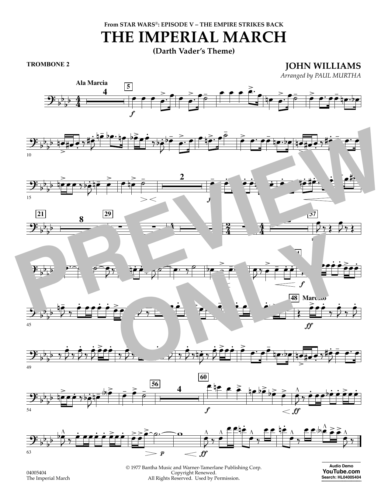 The Imperial March (Darth Vader's Theme) - Trombone 2 (Concert Band)
