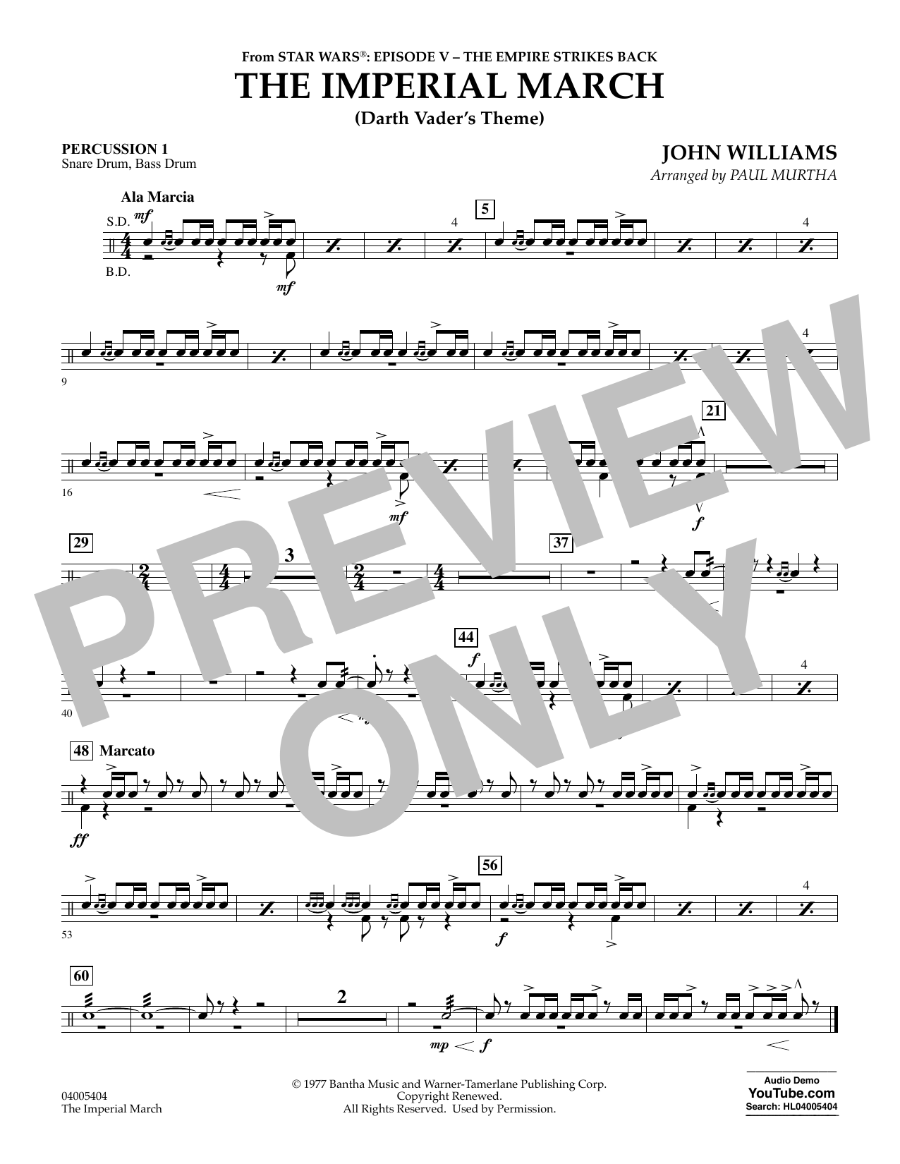 The Imperial March (Darth Vader's Theme) - Percussion 1 (Concert Band)