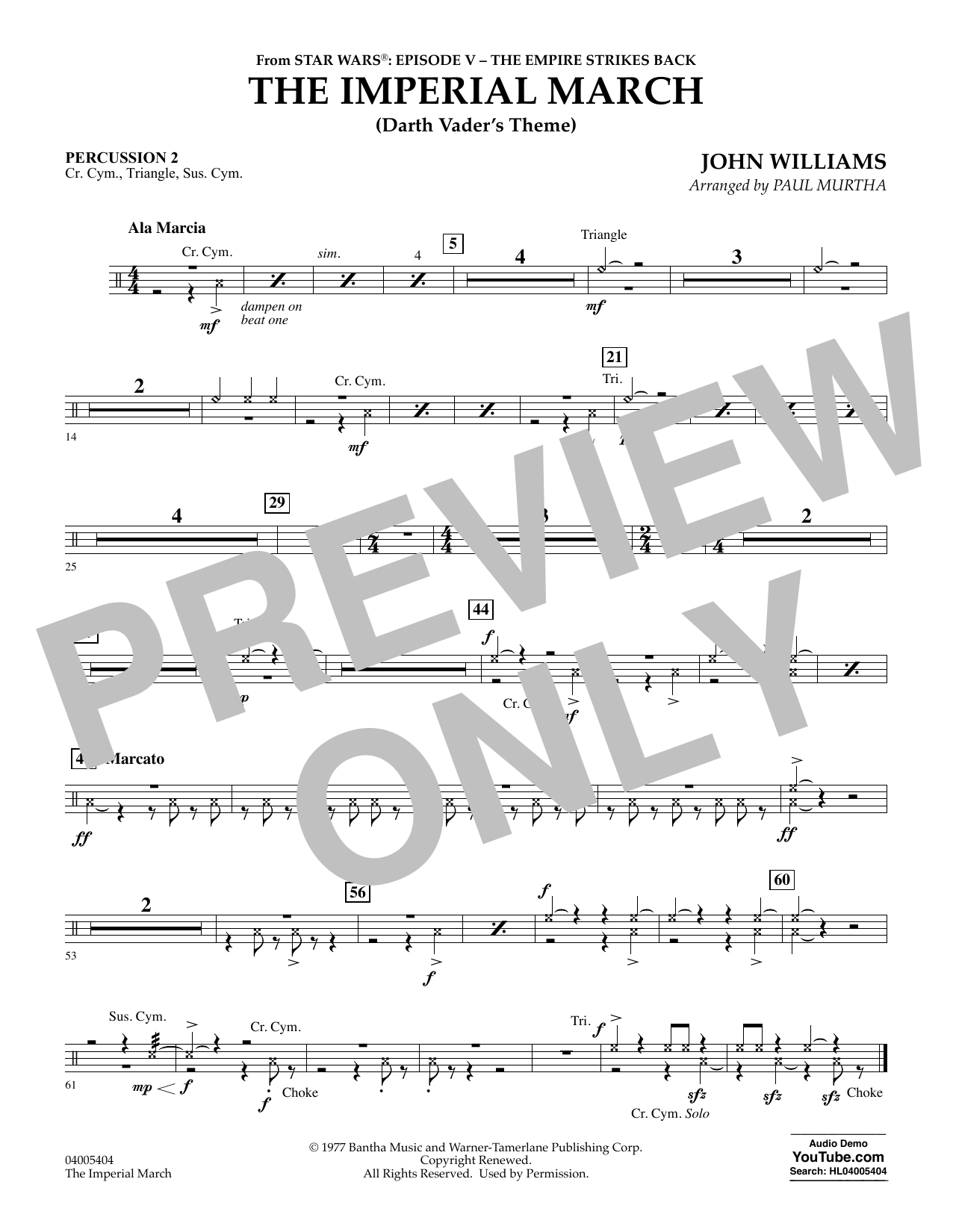 The Imperial March (Darth Vader's Theme) - Percussion 2 (Concert Band)