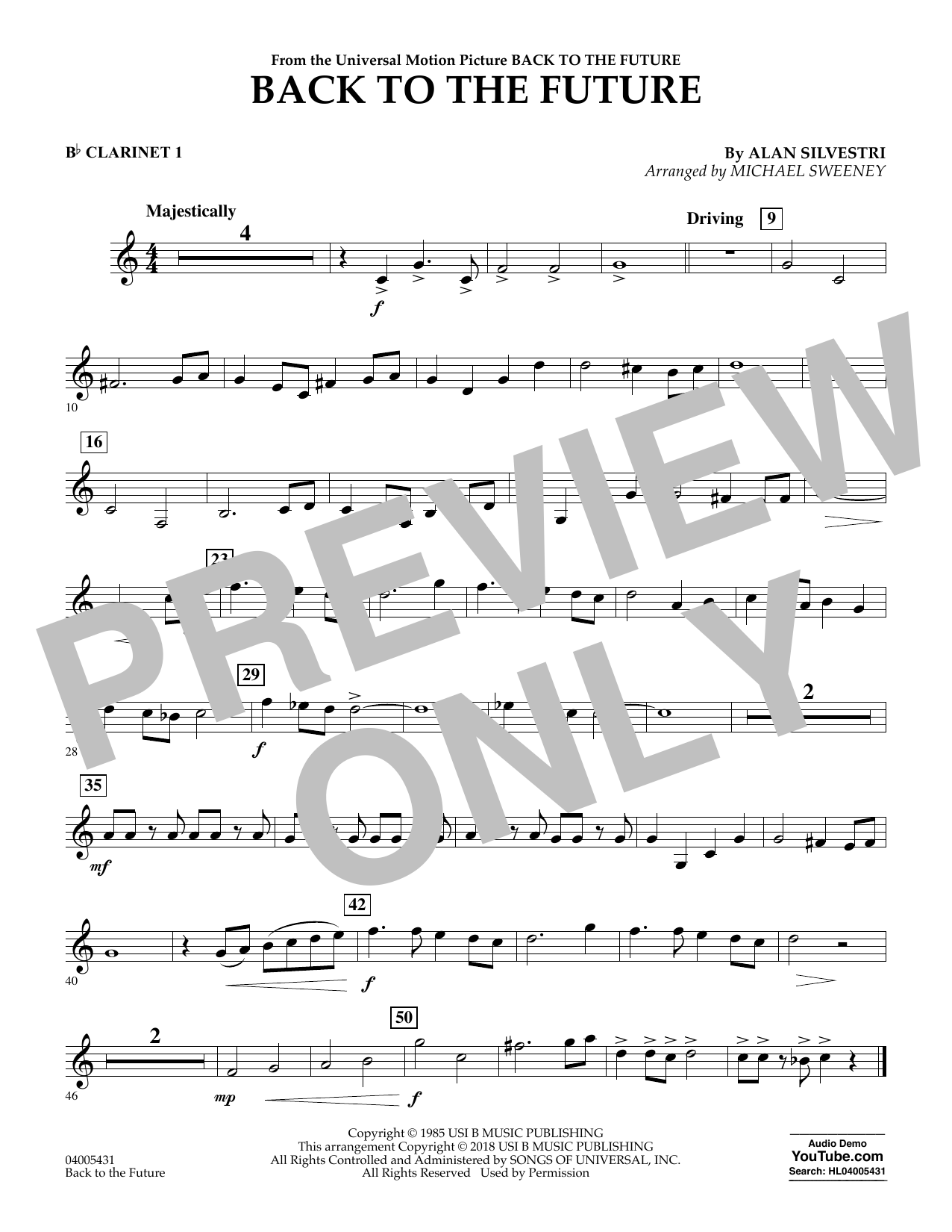 Back to the Future - Bb Clarinet 1 (Concert Band)