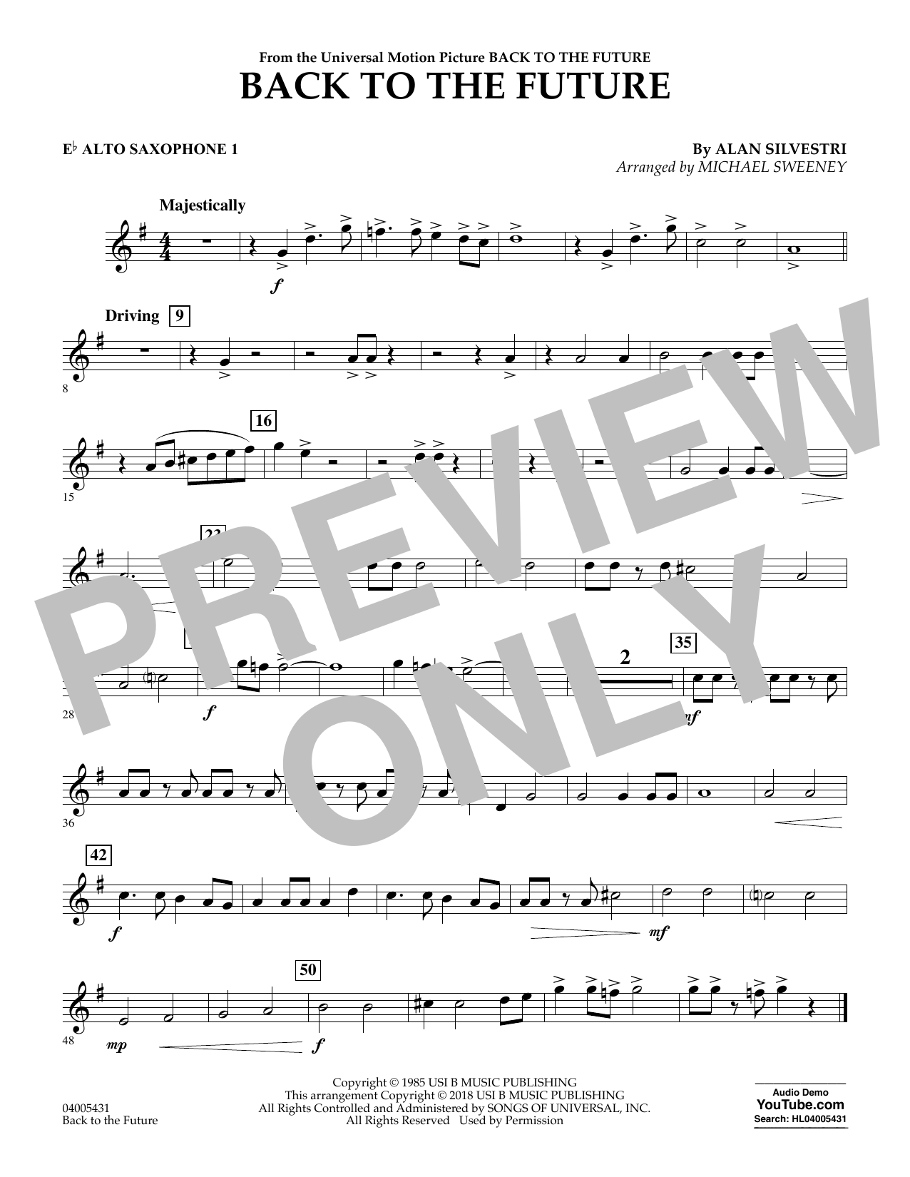 Back to the Future - Eb Alto Saxophone 1 (Concert Band)