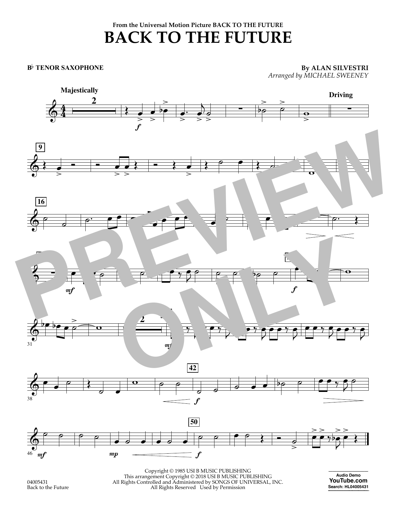 Back to the Future - Bb Tenor Saxophone (Concert Band)