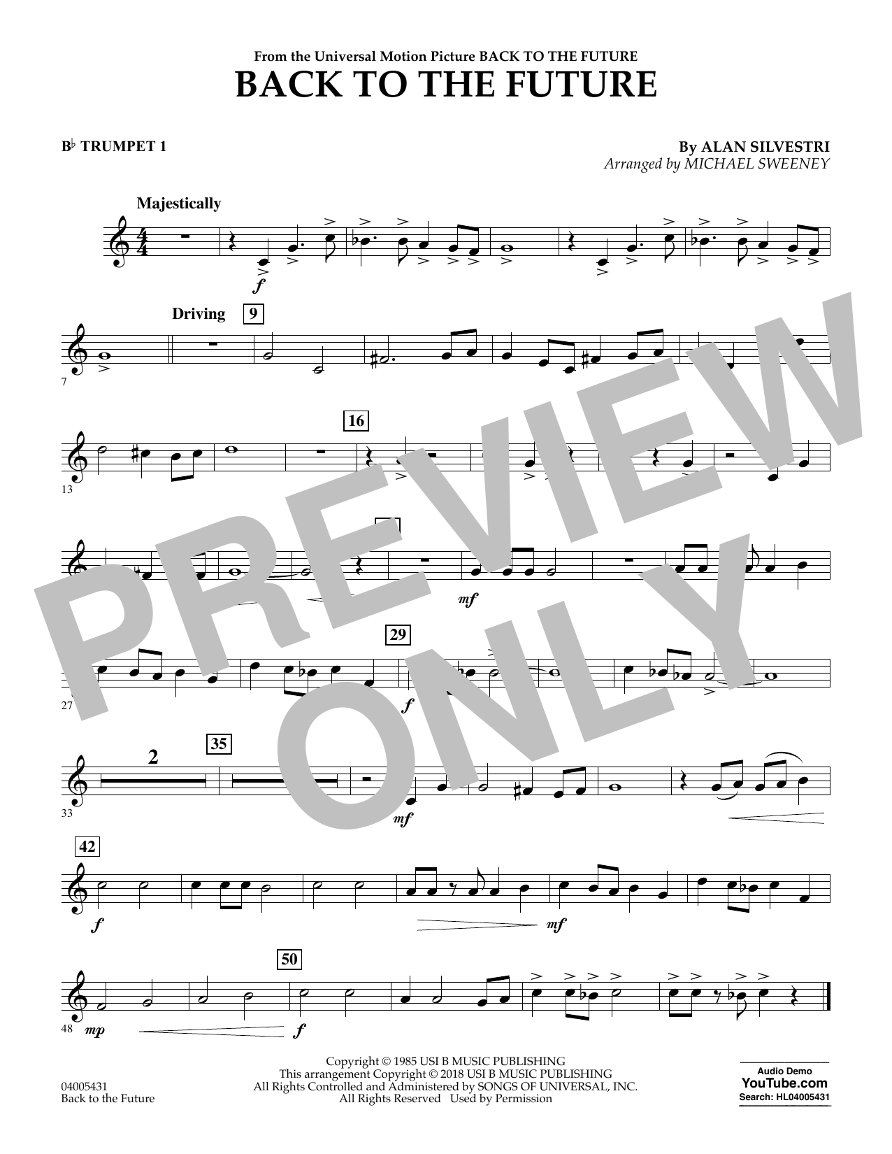 Back to the Future - Bb Trumpet 1 (Concert Band)