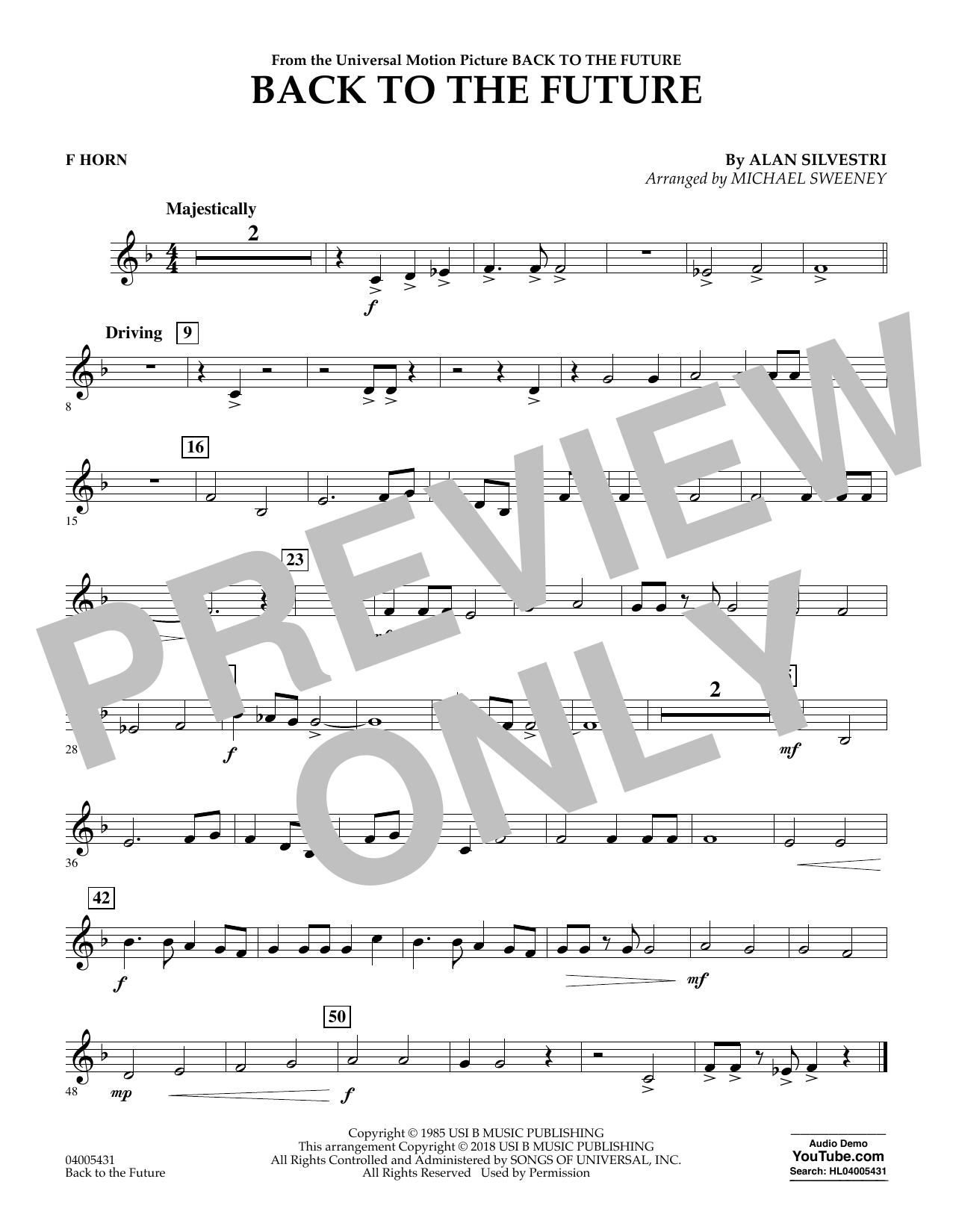 Back to the Future - F Horn (Concert Band)