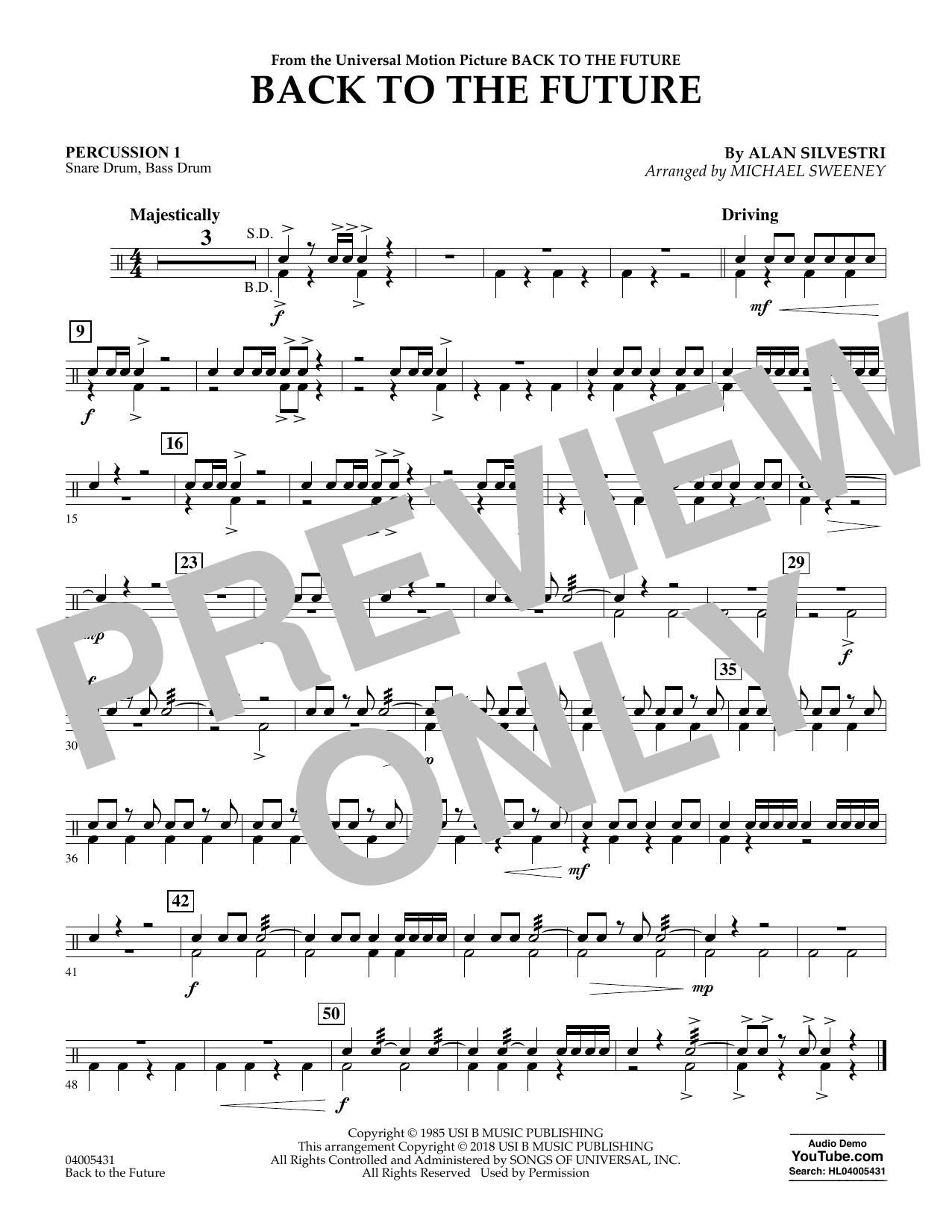 Back to the Future - Percussion 1 (Concert Band)