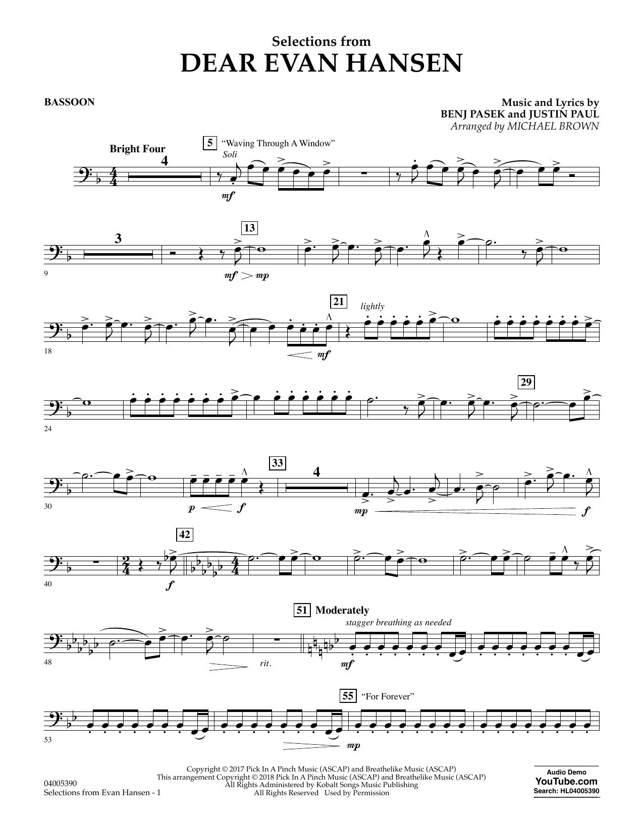 Partition autre Selections from Dear Evan Hansen - Bassoon de Michael Brown - Orchestre d'harmonie