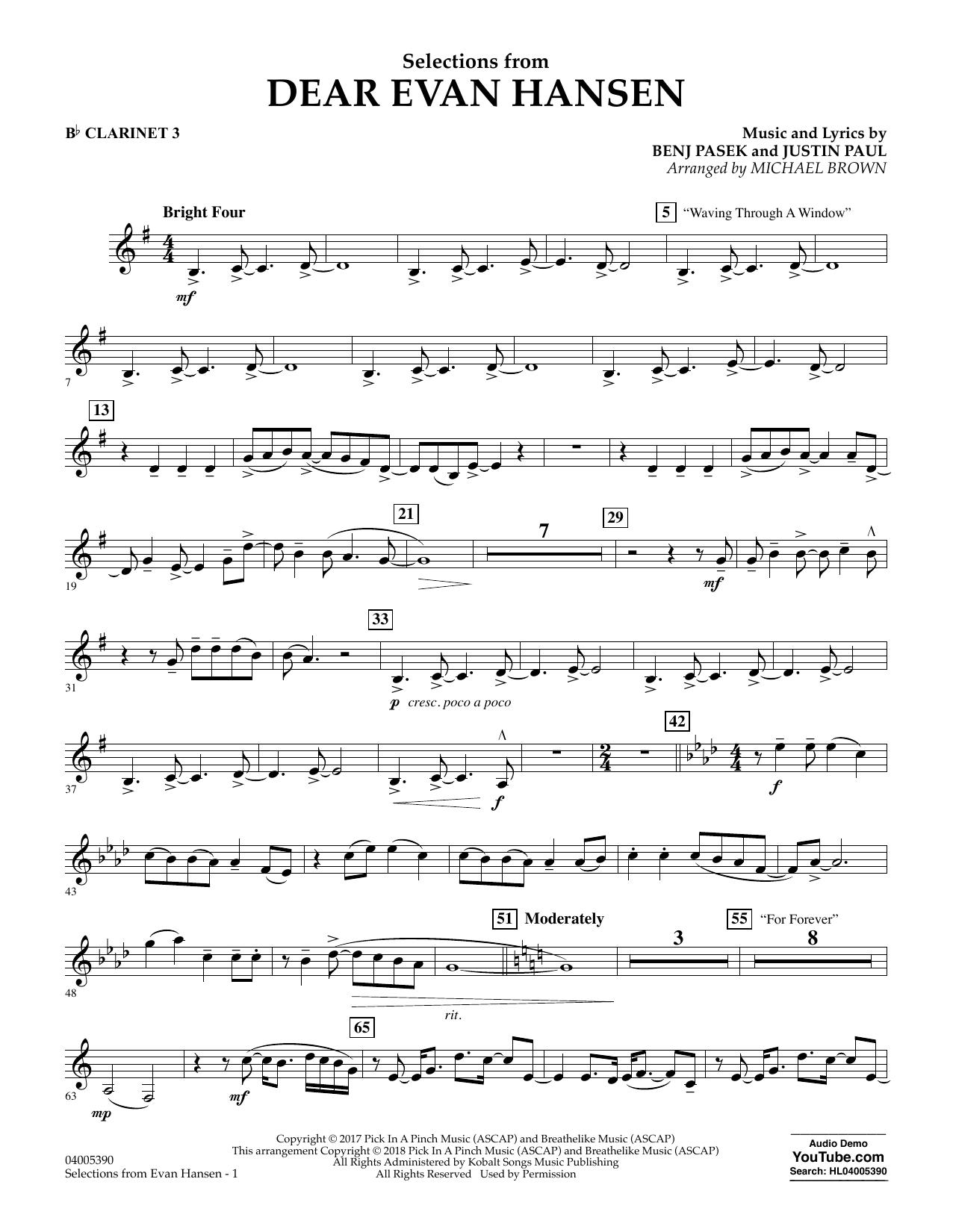 Selections from Dear Evan Hansen - Bb Clarinet 3 (Concert Band)
