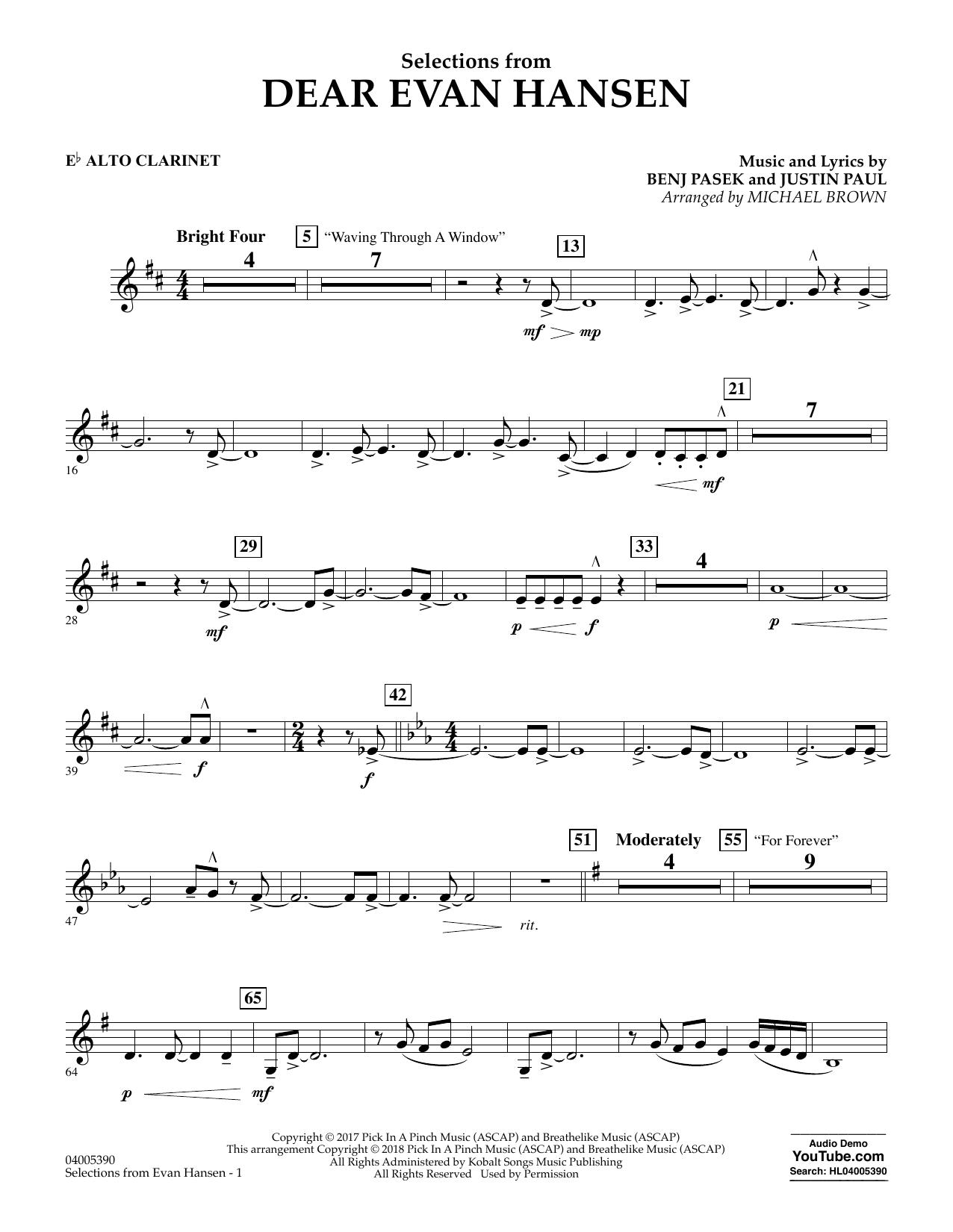Selections from Dear Evan Hansen - Eb Alto Clarinet (Concert Band)