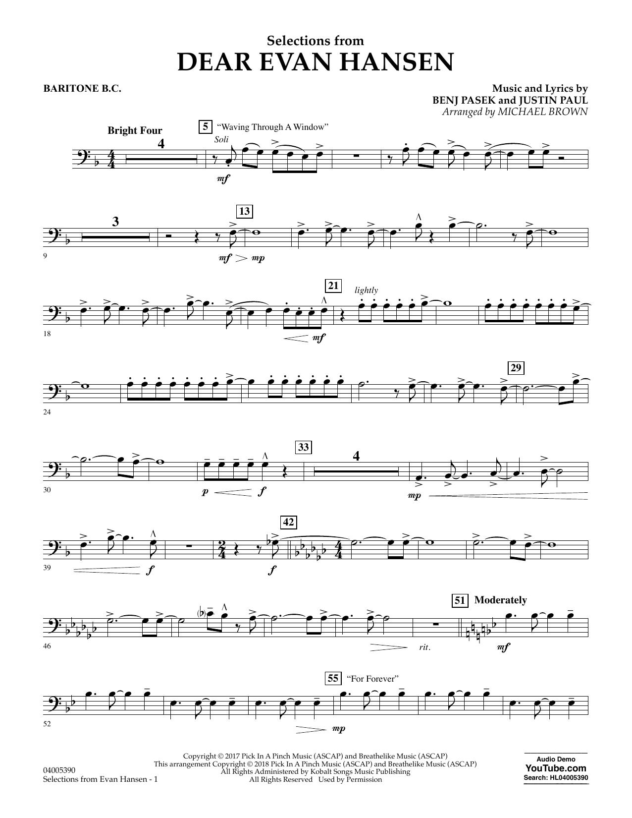 Selections from Dear Evan Hansen - Baritone B.C. (Concert Band)