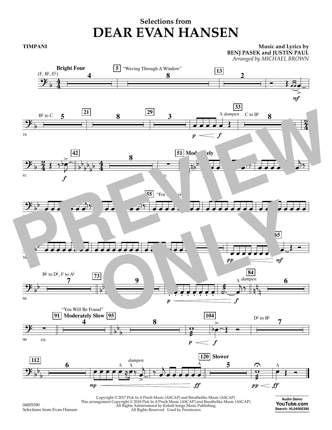 Selections from Dear Evan Hansen - Timpani (Concert Band)