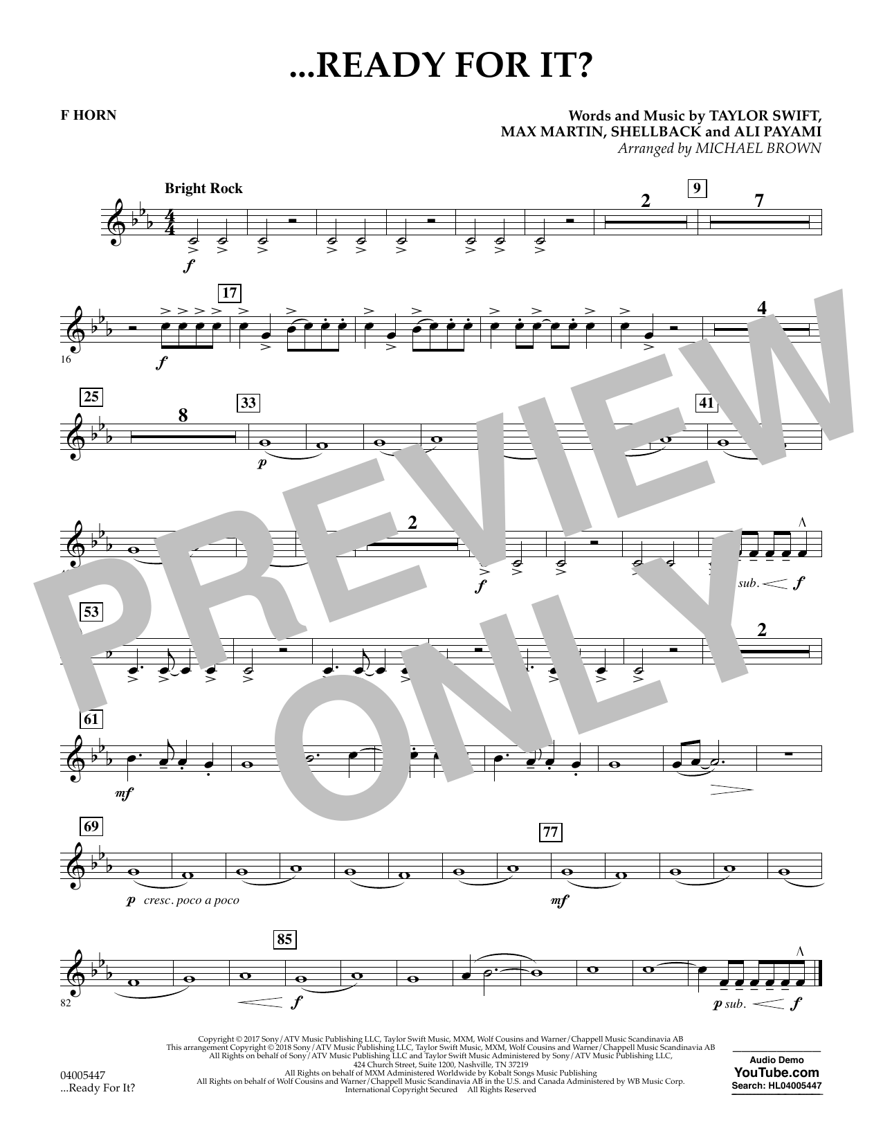 ...Ready for It? - F Horn (Concert Band)
