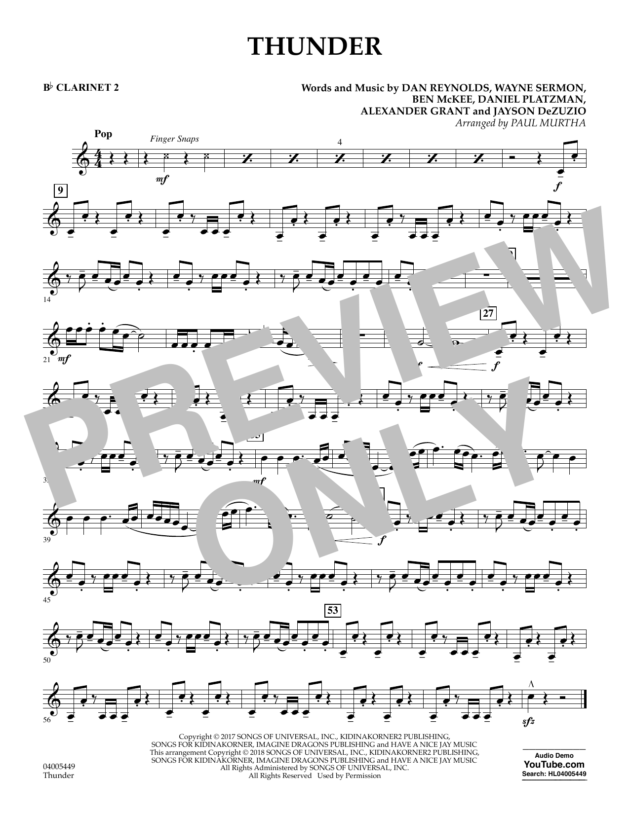 Thunder - Bb Clarinet 2 (Concert Band)