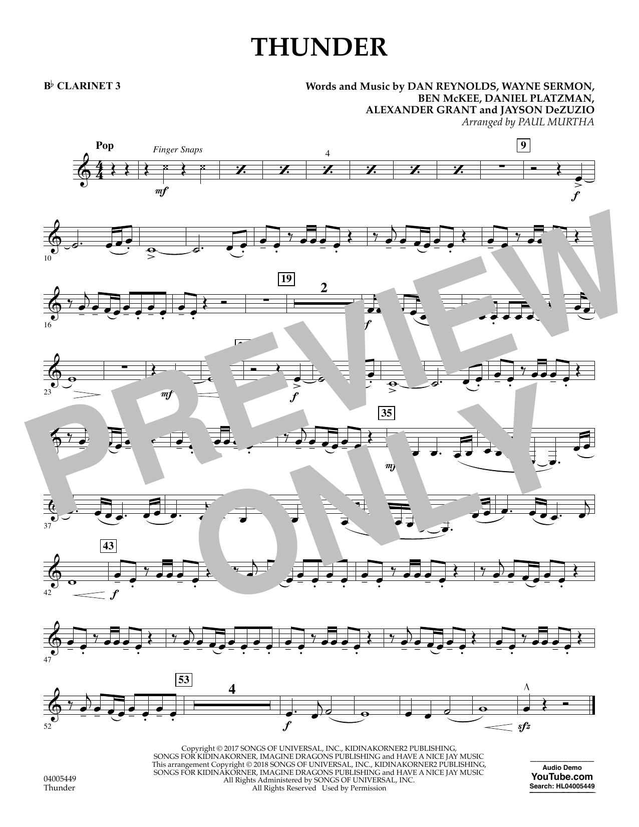 Thunder - Bb Clarinet 3 (Concert Band)