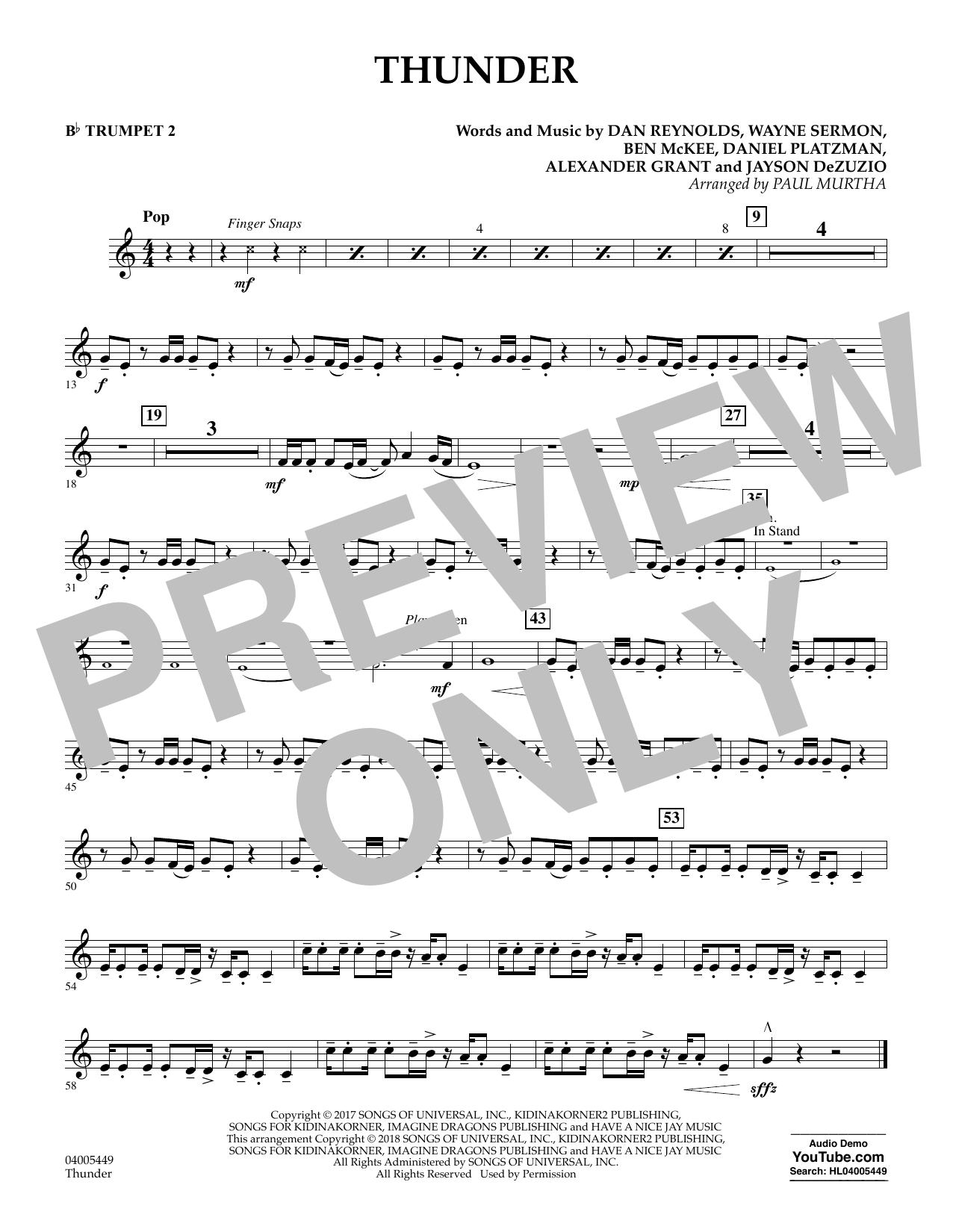 Thunder - Bb Trumpet 2 (Concert Band)