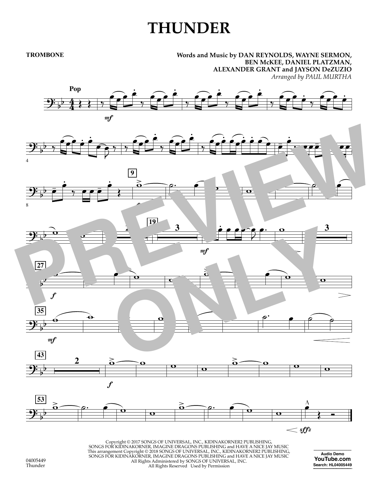 page one of Thunder - TromboneASALTTEXT