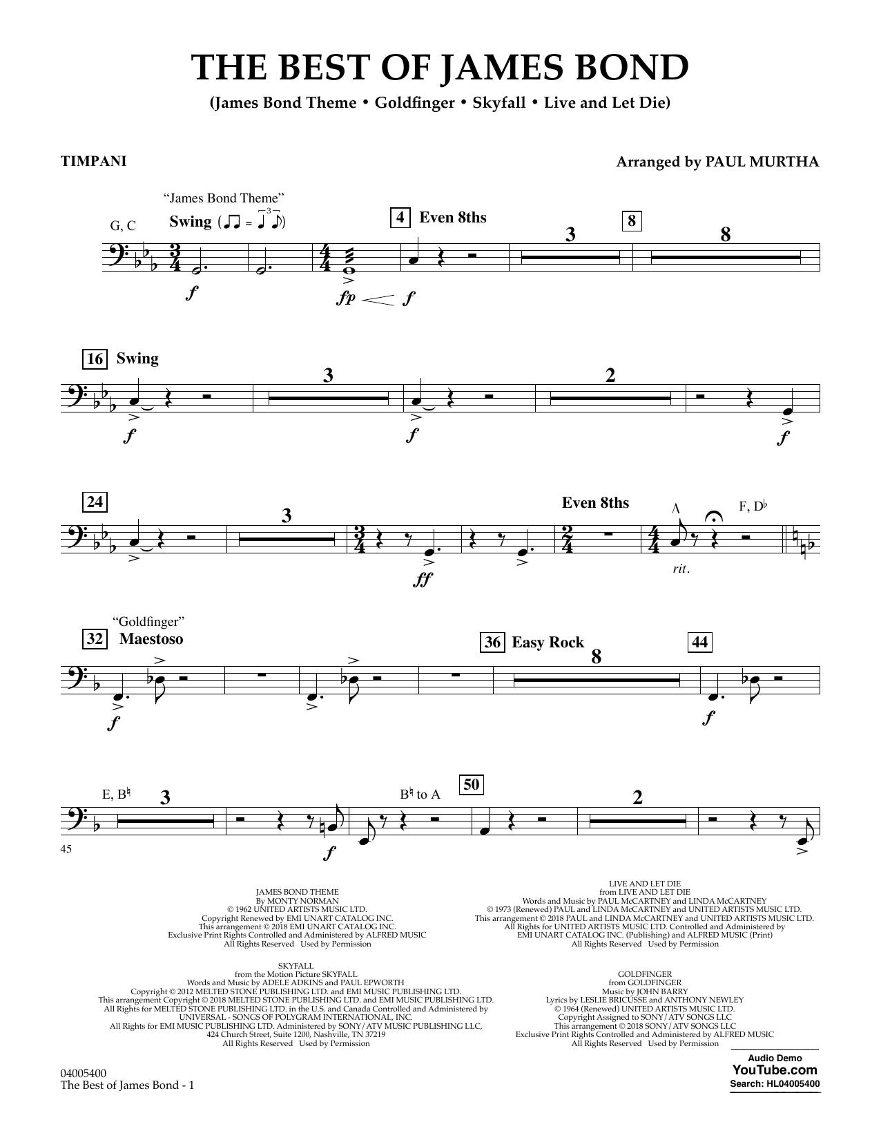 The Best of James Bond - Timpani (Concert Band)