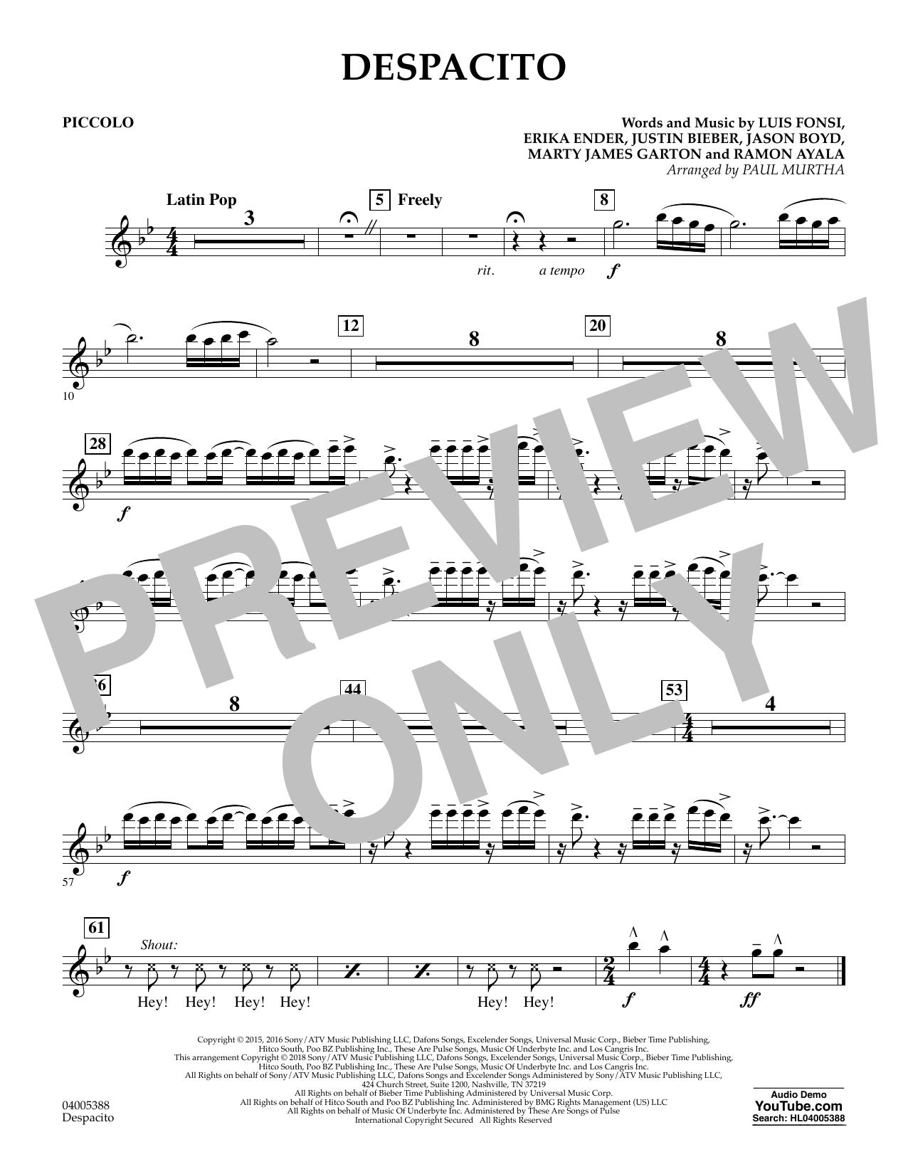 Despacito (arr. Paul Murtha) - Piccolo (Concert Band)