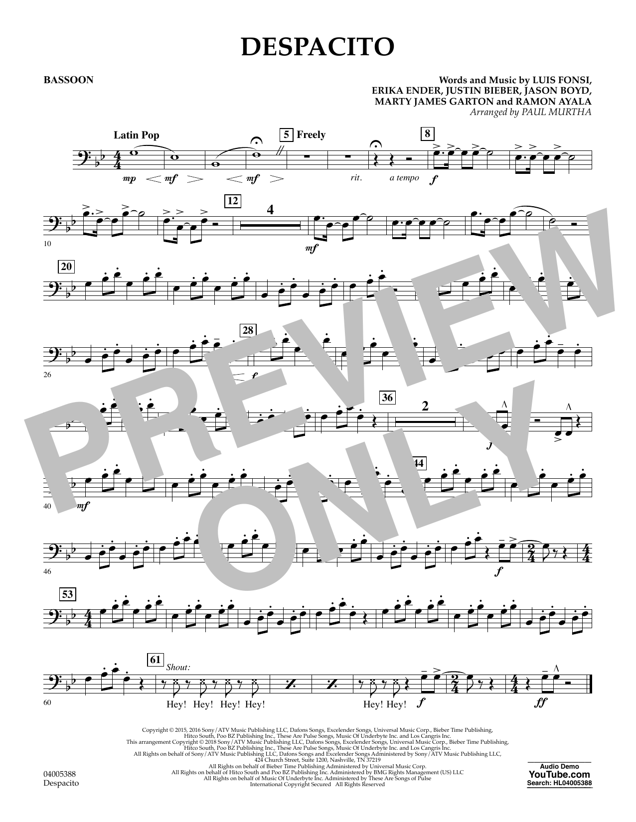 Despacito (arr. Paul Murtha) - Bassoon (Concert Band)