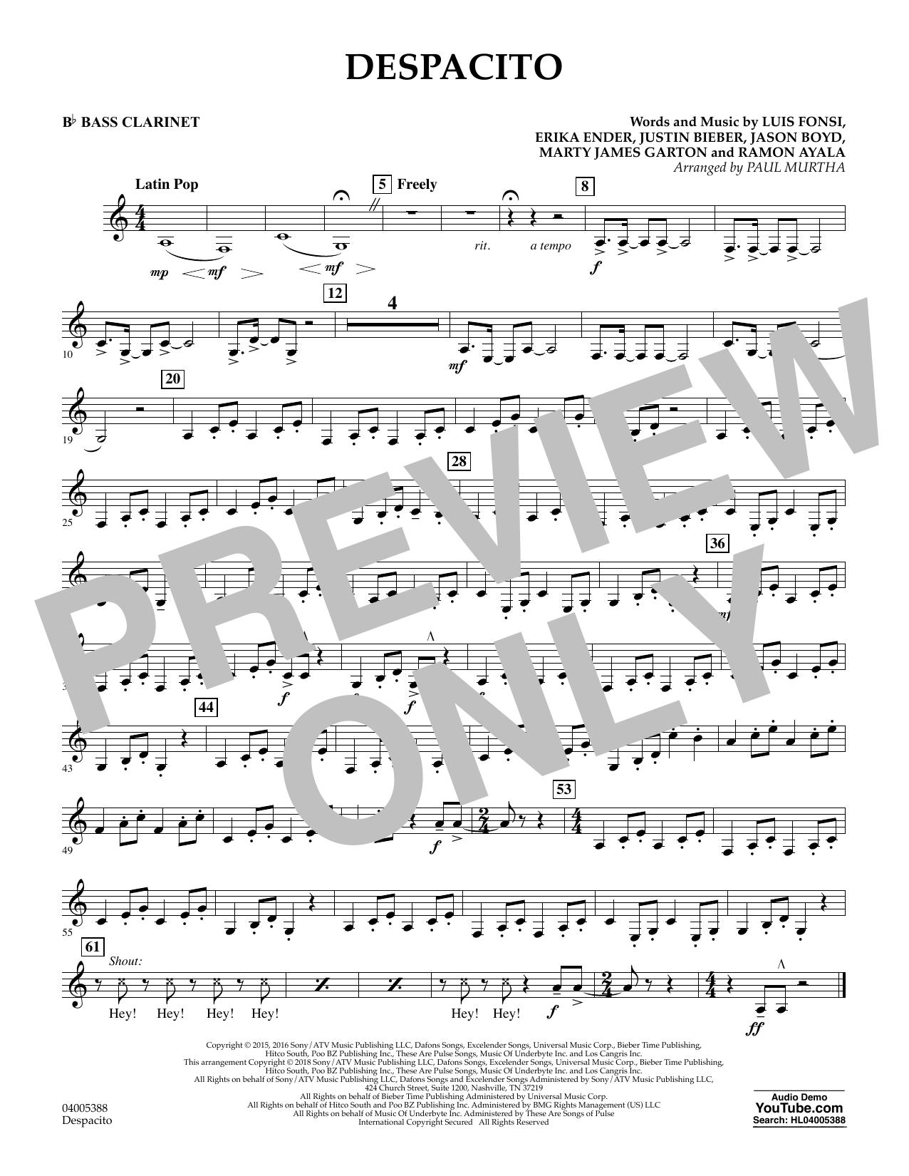 Despacito (arr. Paul Murtha) - Bb Bass Clarinet (Concert Band)