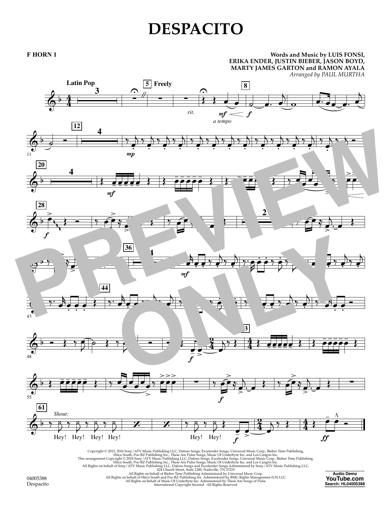 Despacito (arr. Paul Murtha) - F Horn 1 (Concert Band)
